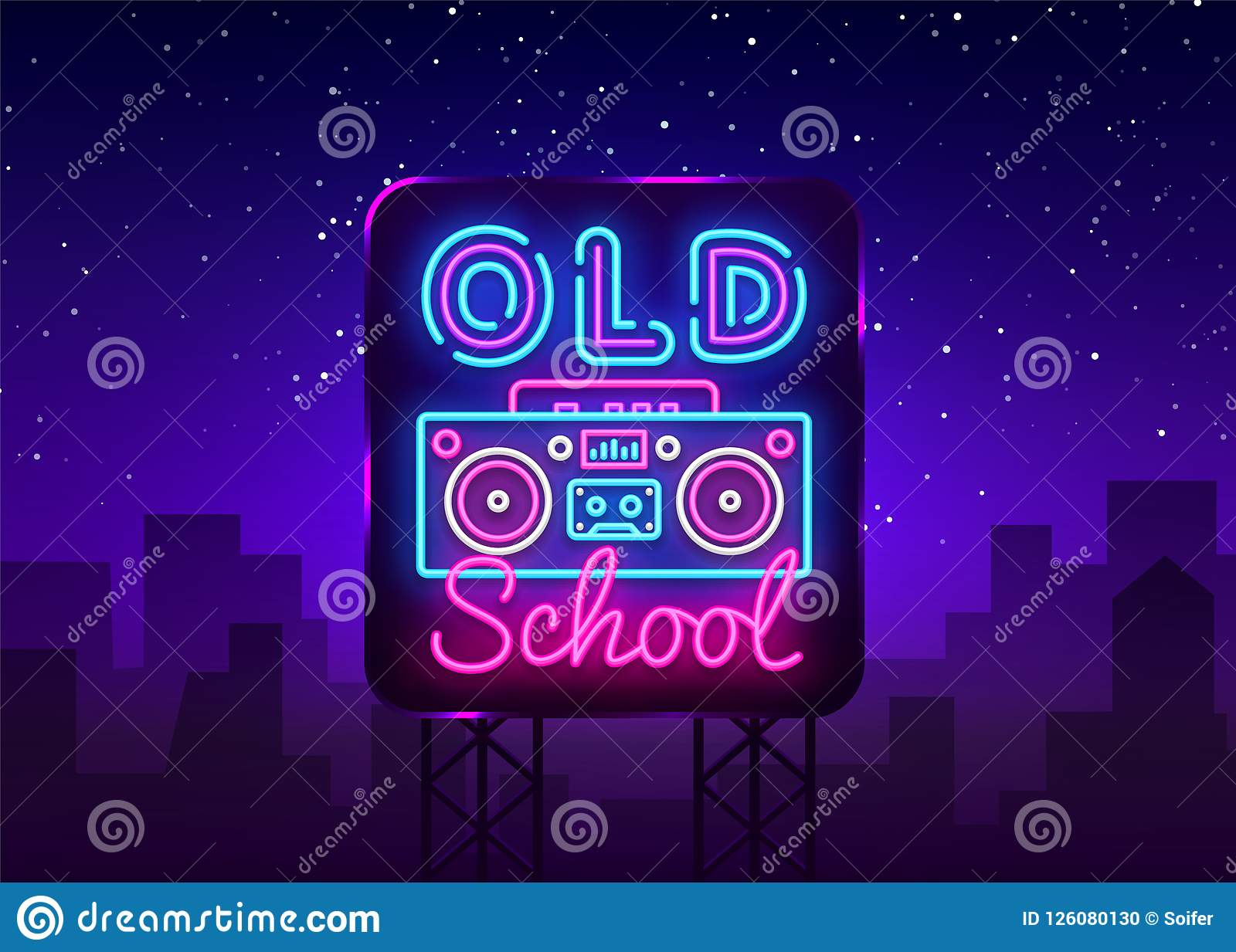 Old School Neon Sign Vector  Retro Music Design Template Neon Sign