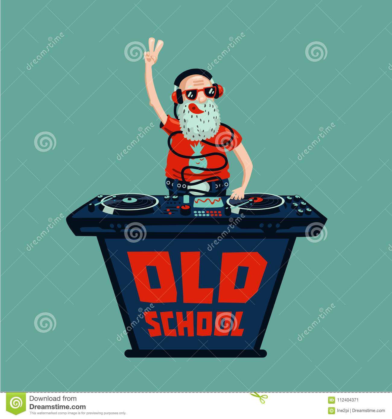 Old School Retro Party  Senior Adult Dj With Vinyl  Stock