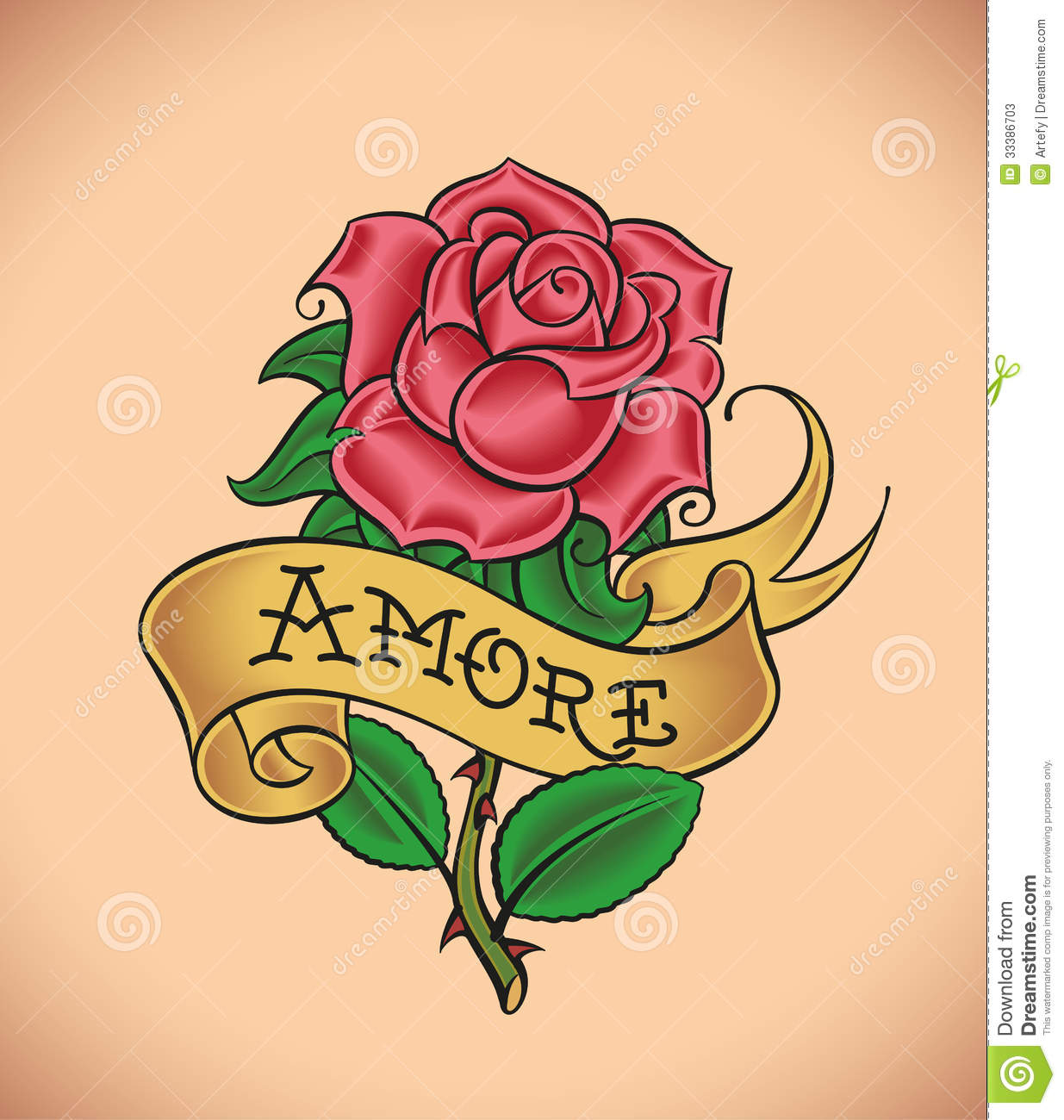 Old School Rose Amore Stock Vector Illustration Of Greeting