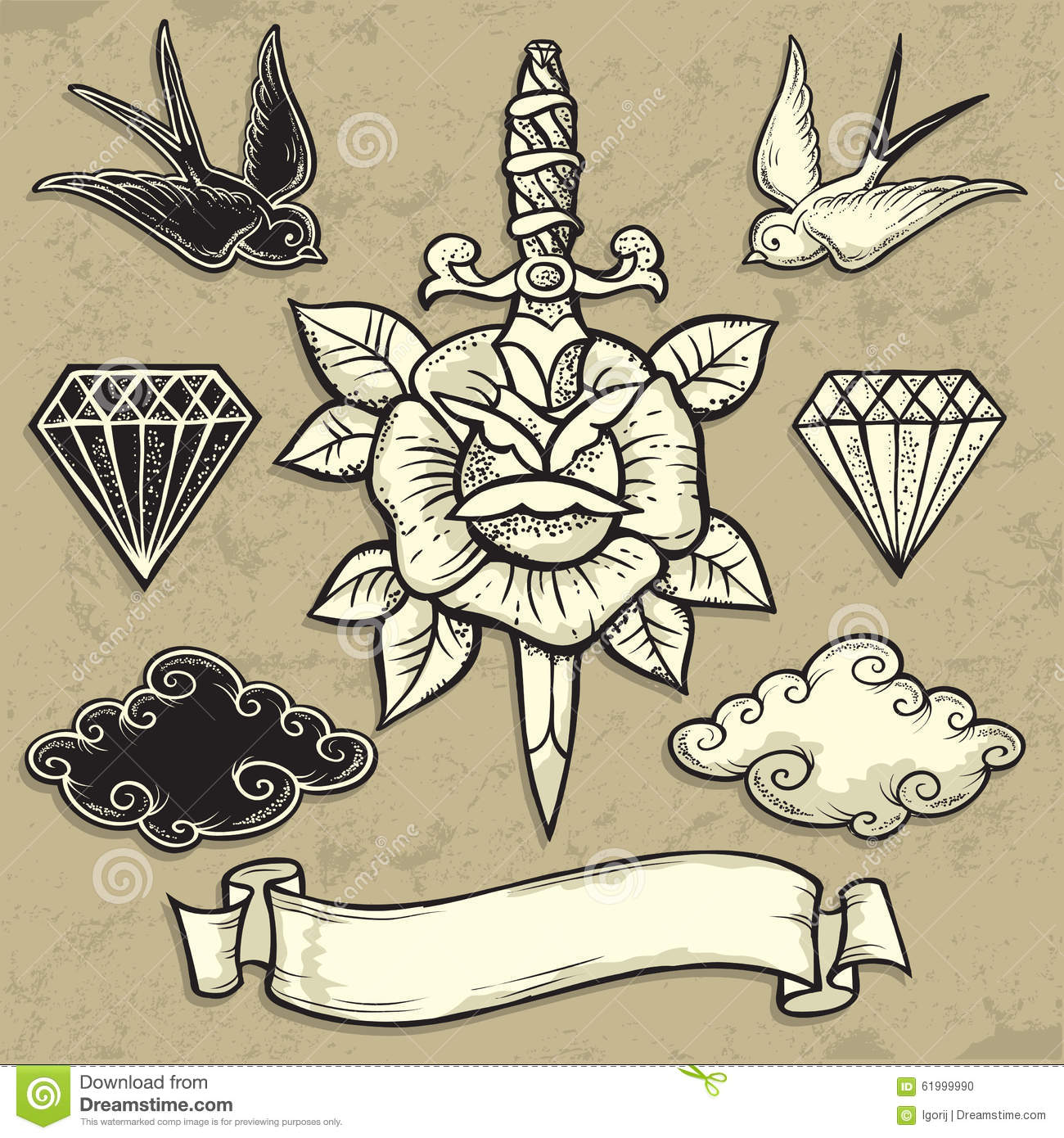 Old School Rose And Dagger Stock Vector Illustration Of Style