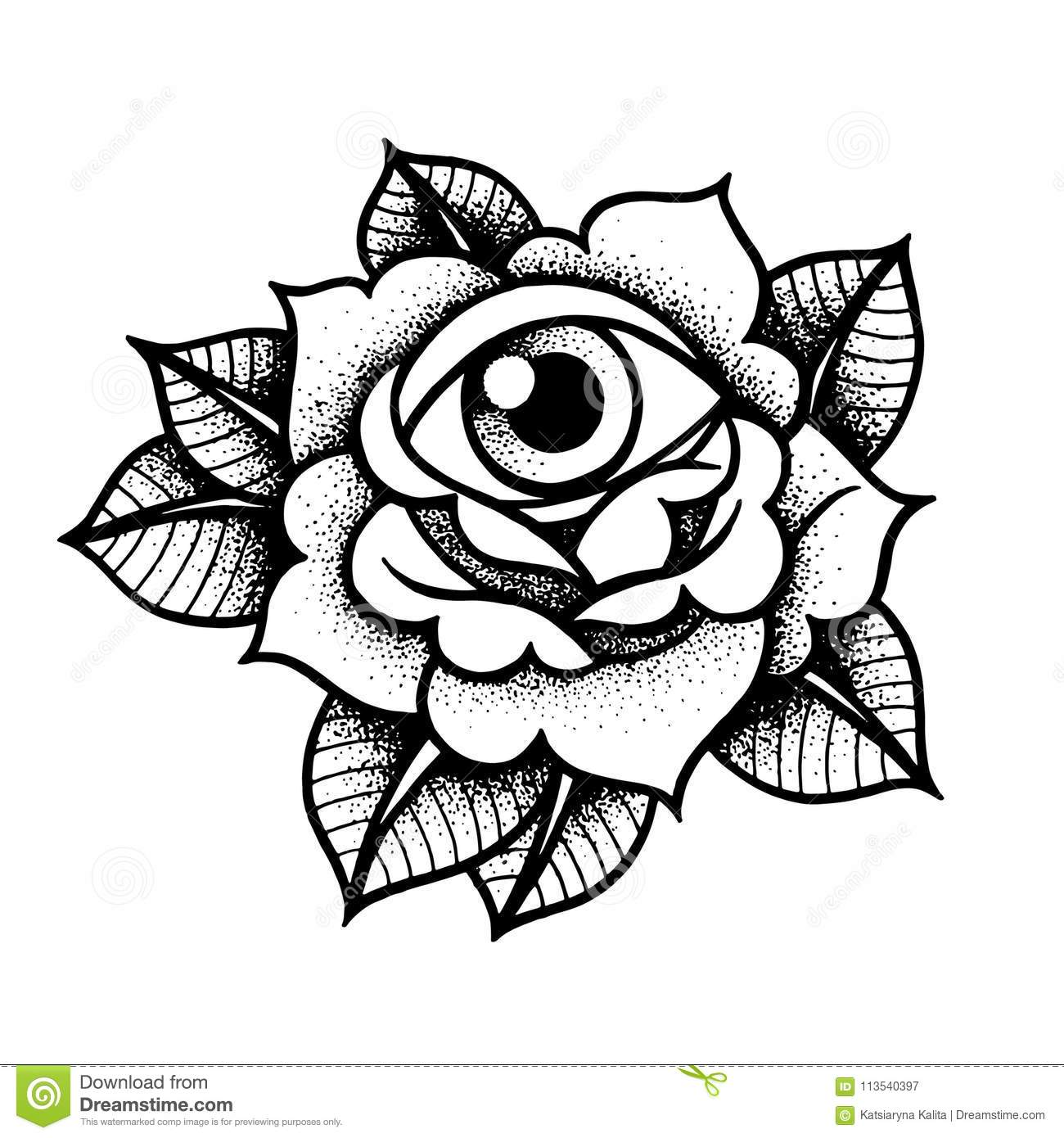 196364a50 Old School Rose Tattoo With Eye. Stock Vector - Illustration of ...
