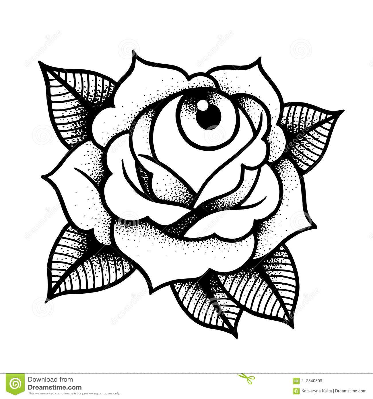 Old School Rose Tattoo With Eye Stock Vector Illustration Of