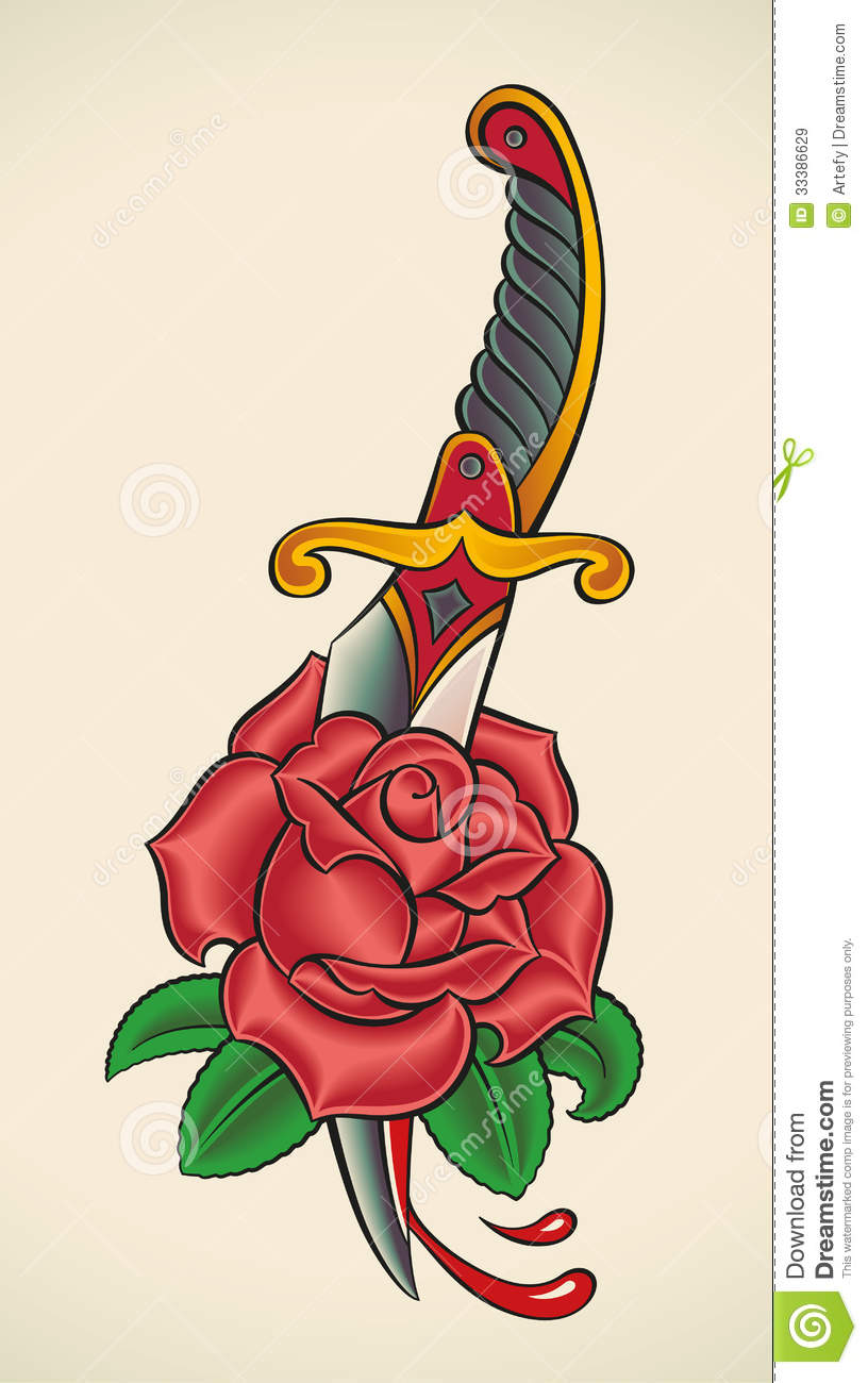 Old school tattoo dagger through heart stock photos image - Old School Tattoo Dagger Through Rose Royalty Free Stock
