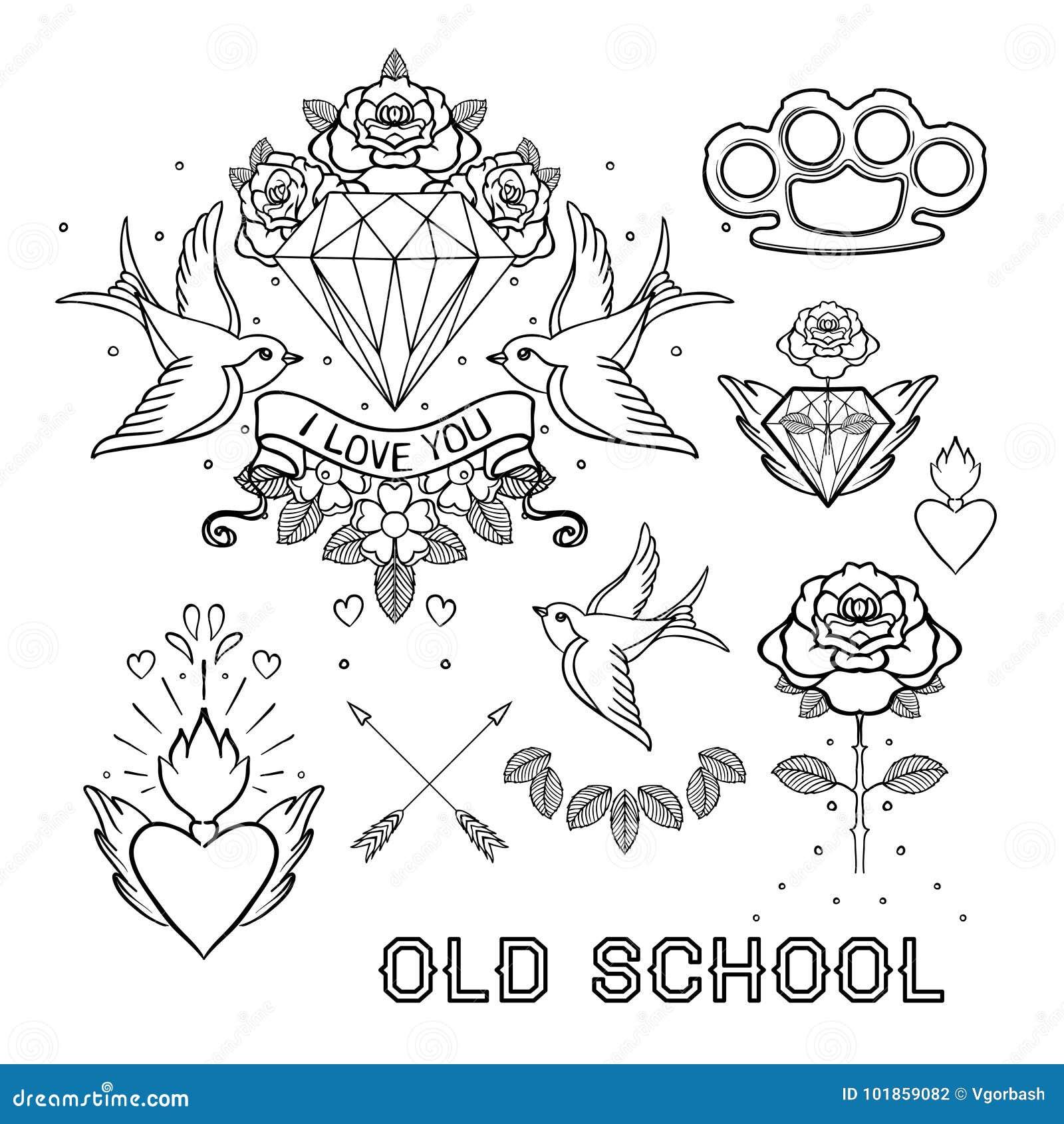 65e9566b4b818 Old School Tattoo Set. Classic Vector Tattoo Doodle Elements: Fl ...