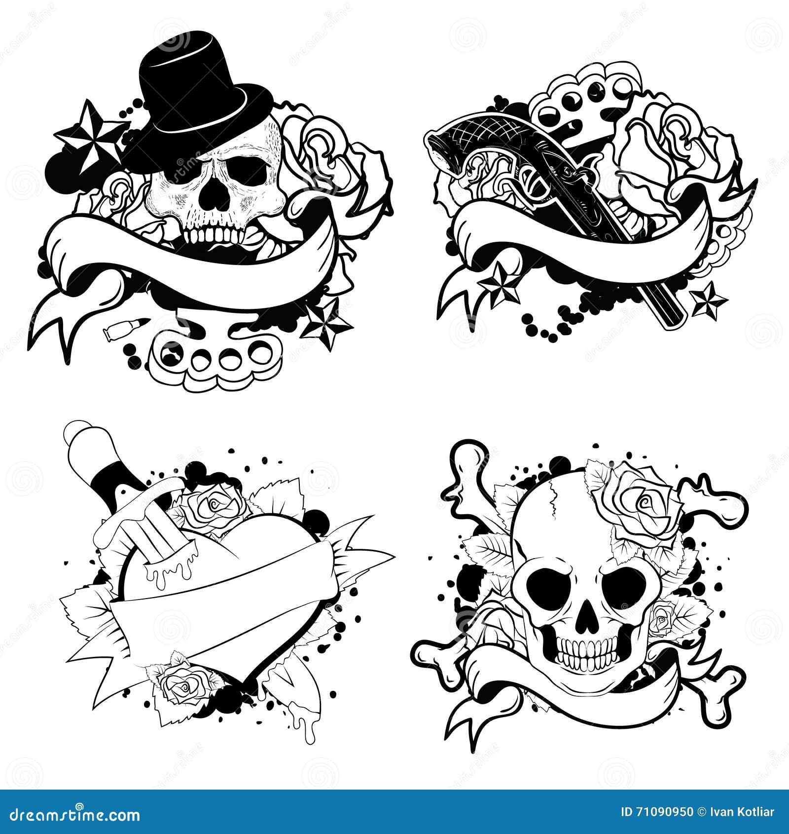Old School Tattoo Set Stock Vector Illustration Of Classic 71090950