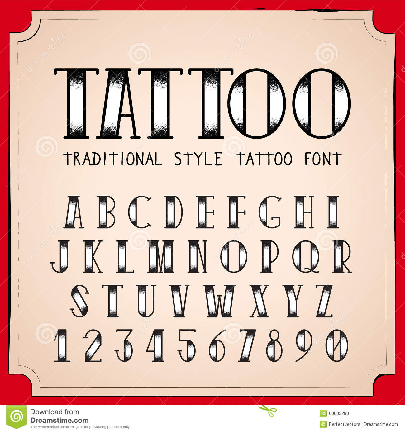 Old School Tattoo Style Font Stock Vector