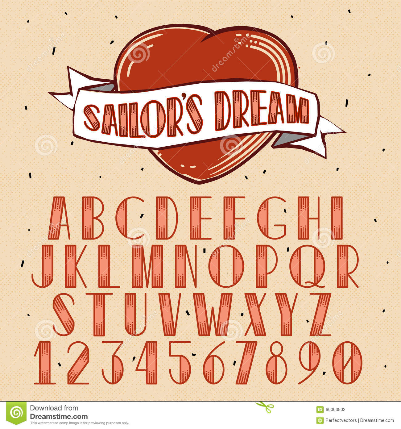 Old school tattoo style font stock vector image 60003502 for Traditional tattoo fonts