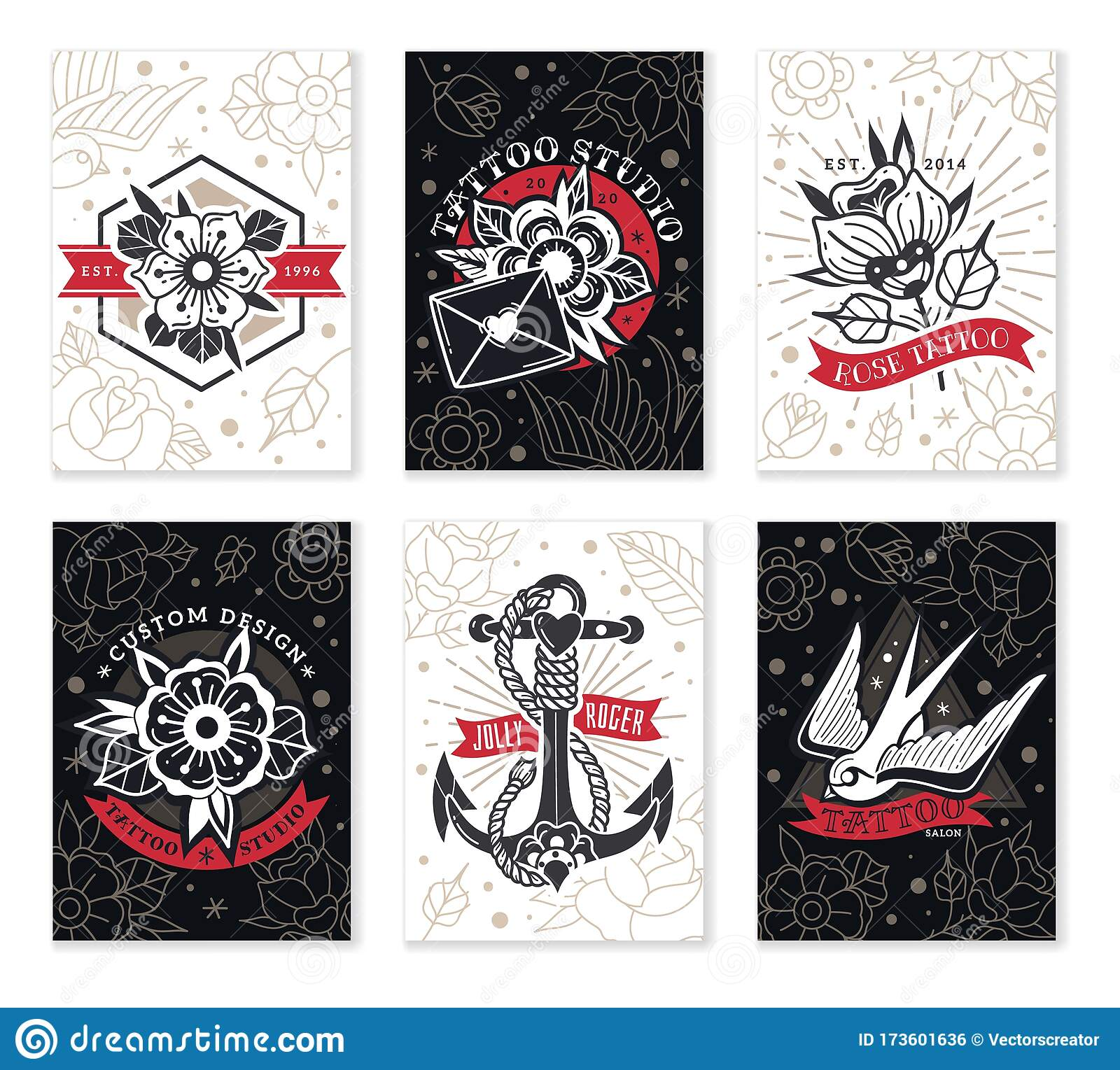 Old School Traditional Tattoo Cards Stock Vector Illustration Of Anchor Badge 173601636