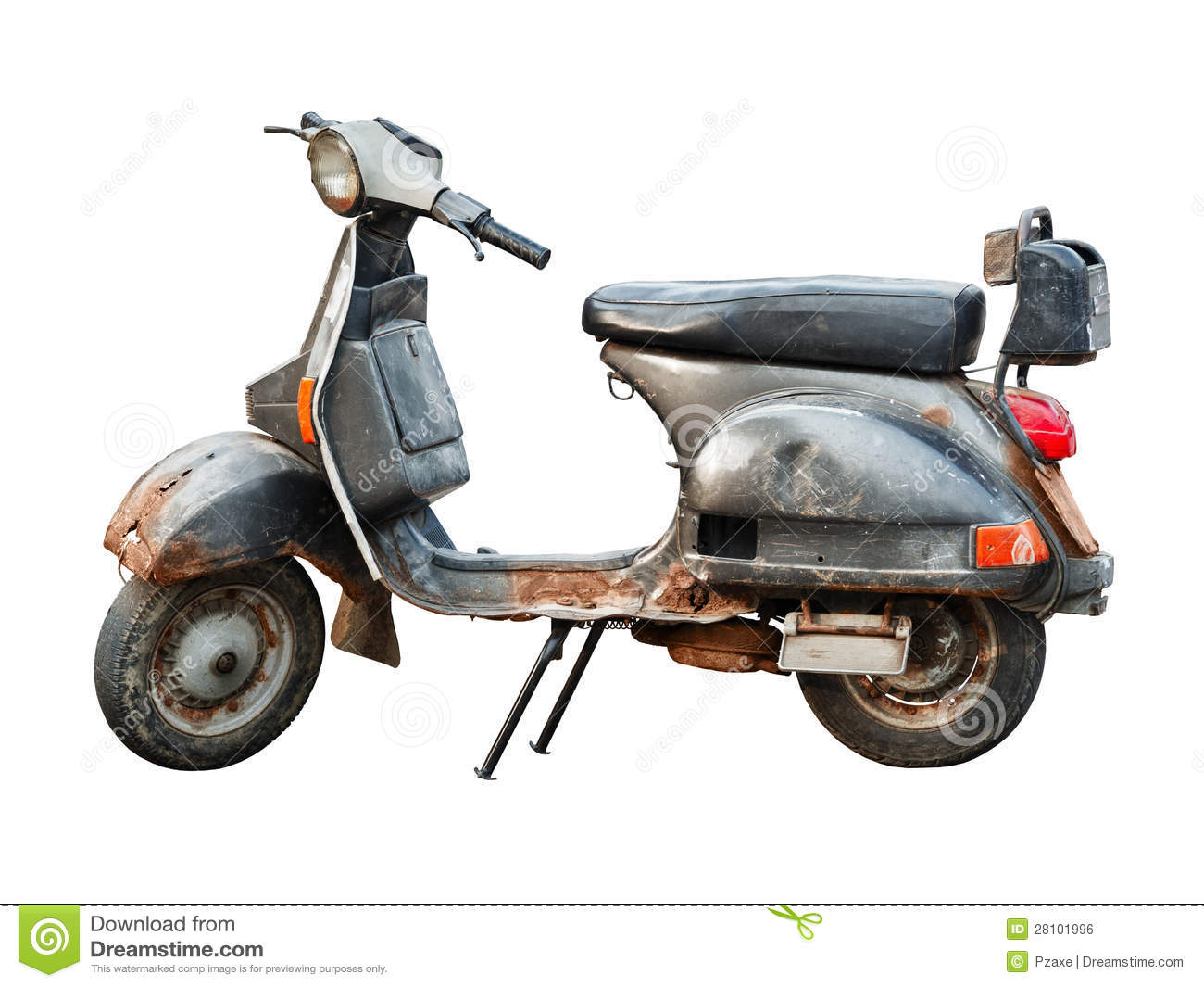 Old Scooter On White Background Royalty Free Stock Image
