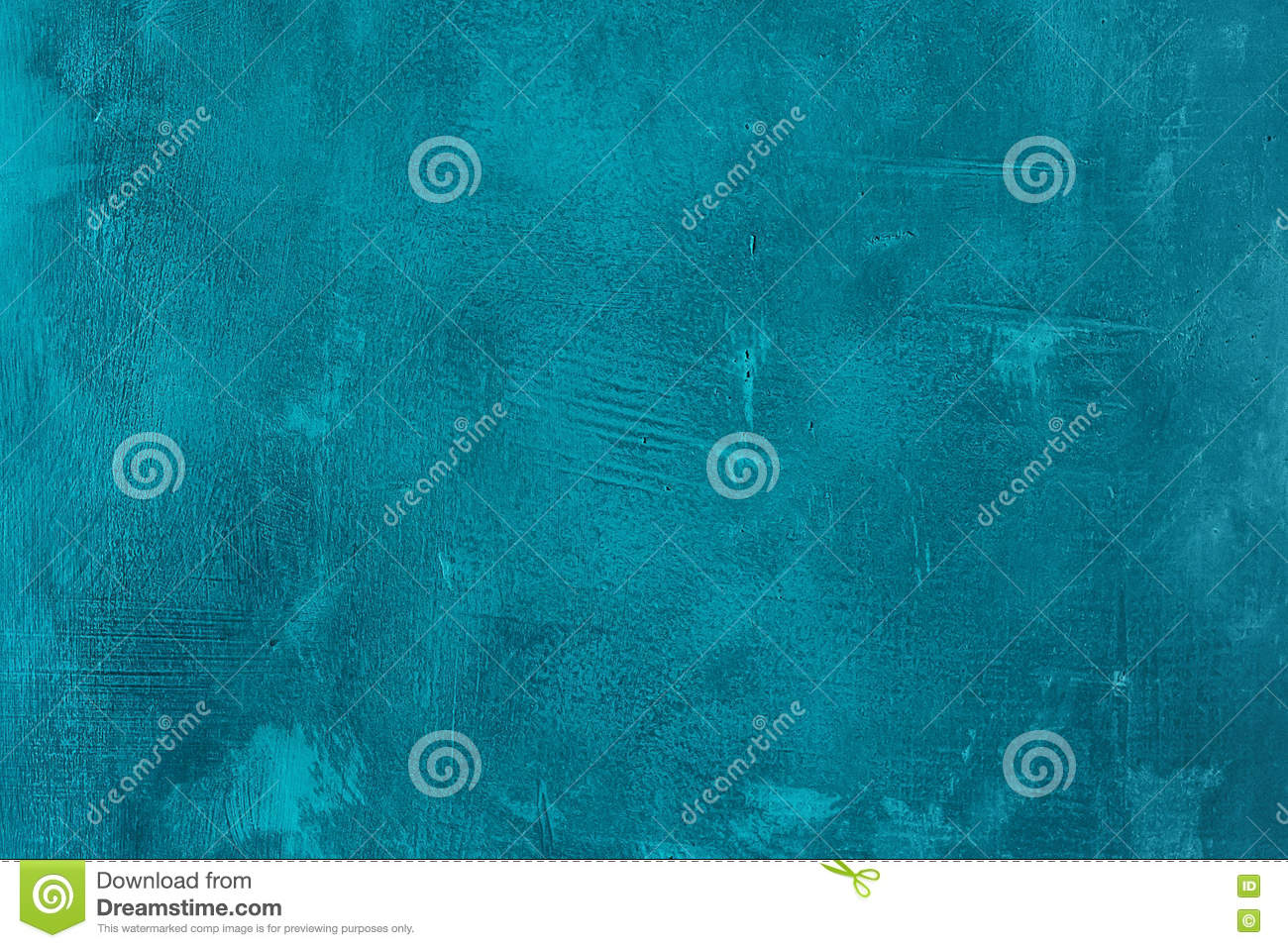 Old scratched and chapped painted blue wall. Abstract textured turquoise background. Empty template