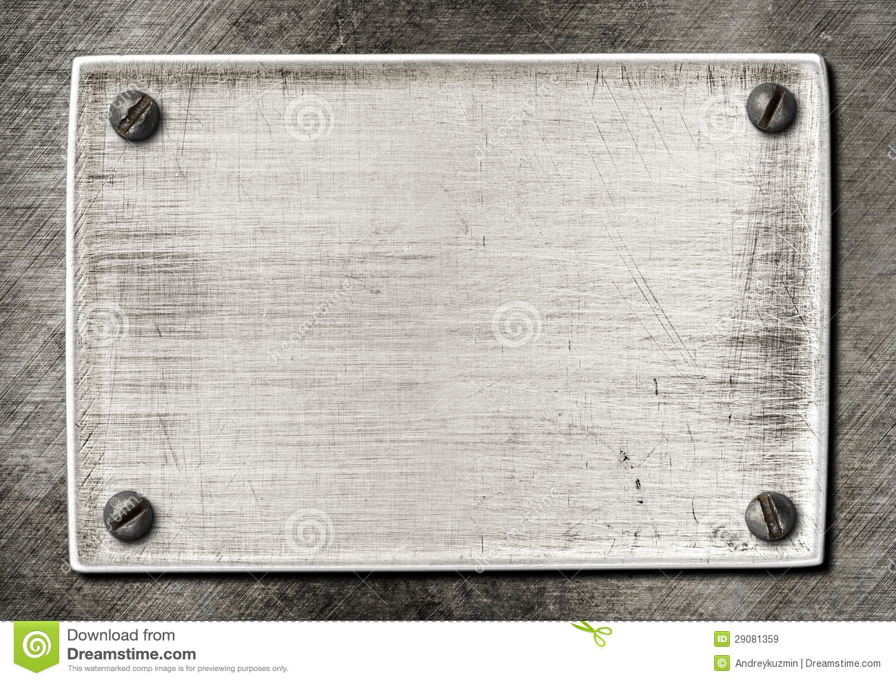Old scratched metal texture with screws stock image for Plaque de metal adhesive