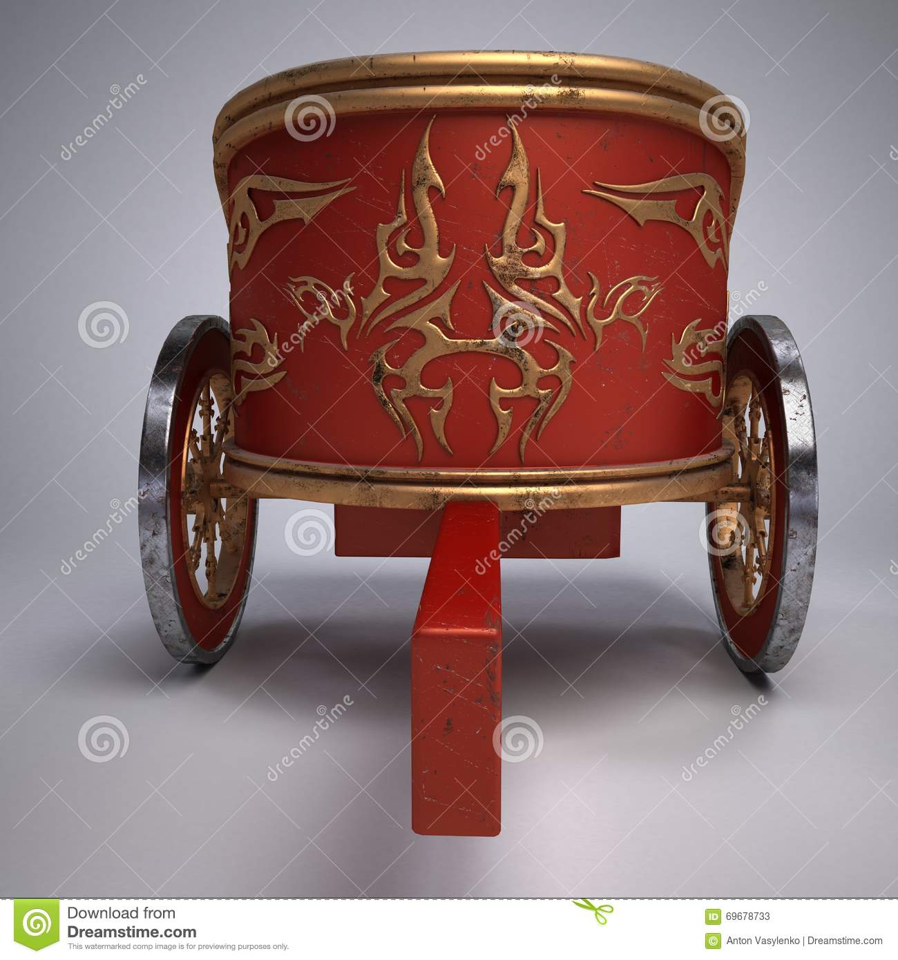 old scratched roman chariot on gradient white background. Black Bedroom Furniture Sets. Home Design Ideas