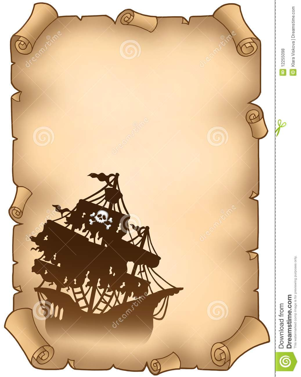 pirate scroll template - old scroll with mysterious pirate ship stock illustration