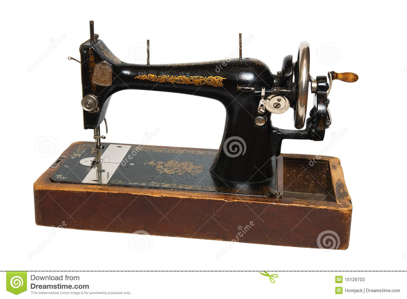 old sewing machine stock photos image 15129703. Black Bedroom Furniture Sets. Home Design Ideas