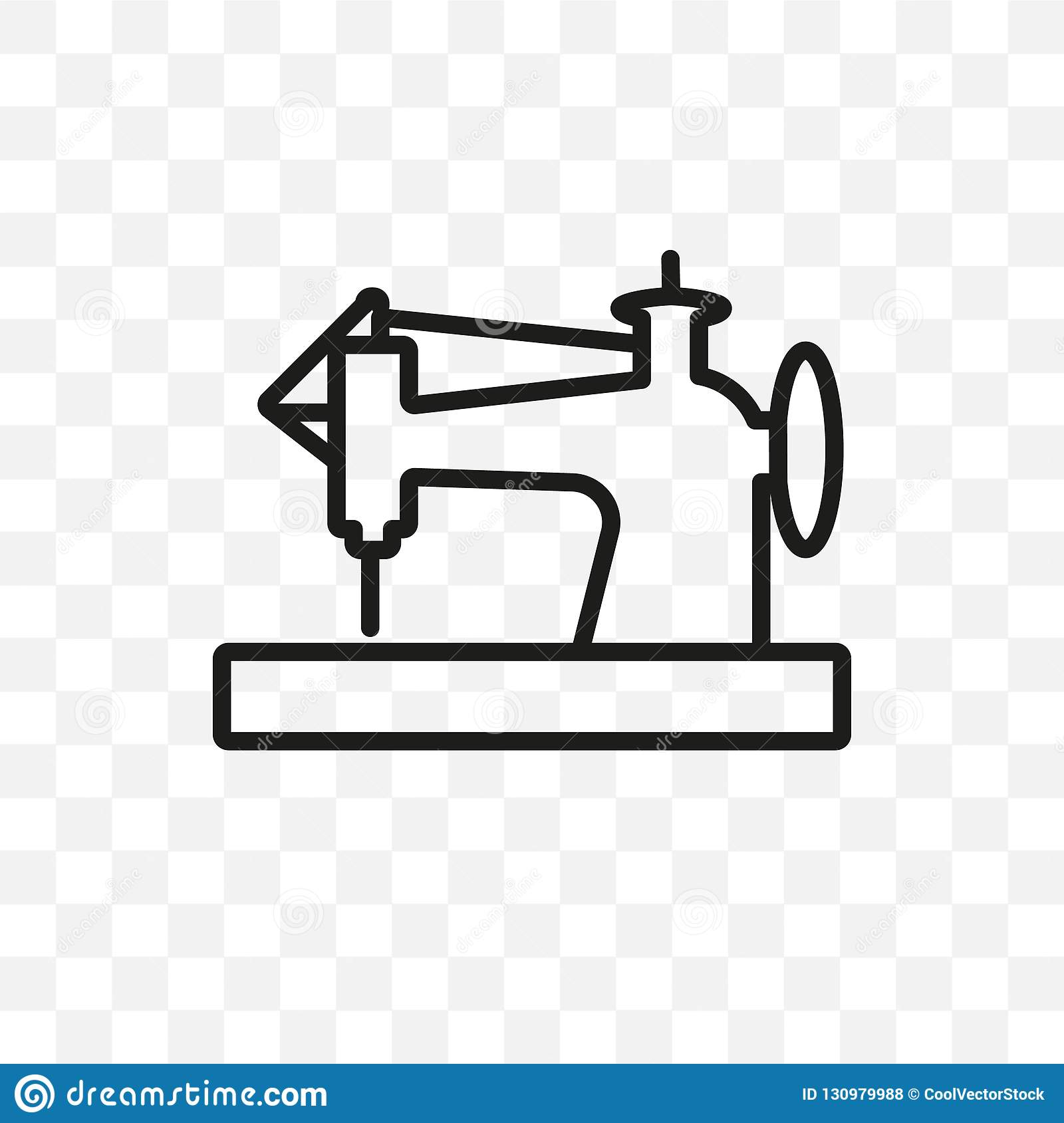 Old Sewing Machine Vector Linear Icon Isolated On Transparent