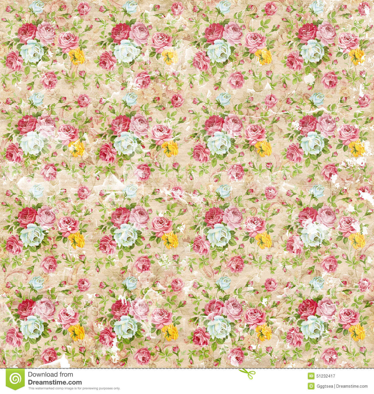 Old Shabby Paper Floral Wallpaper Stock Image Image Of Coloful