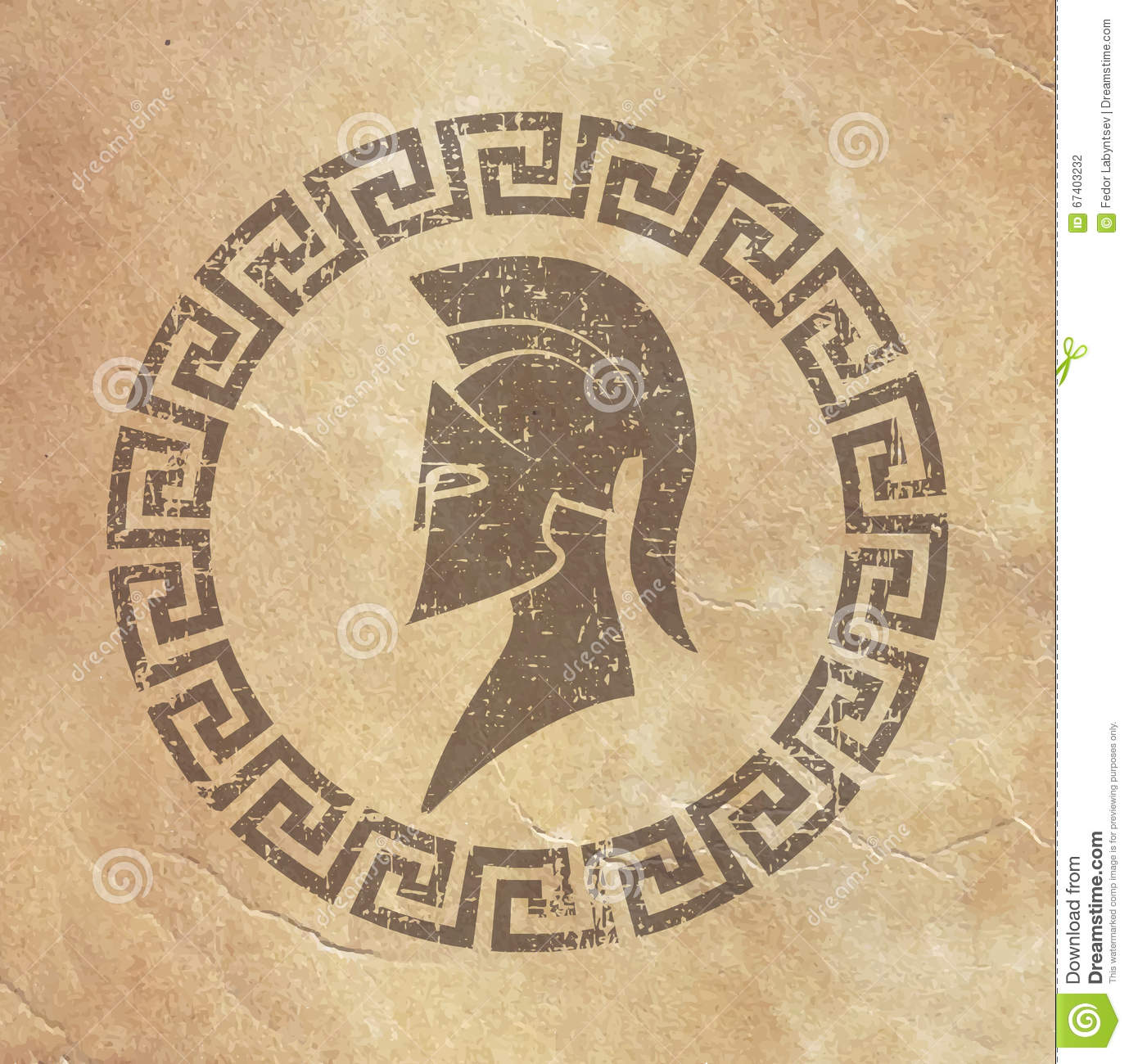 old shabby symbol of reproduction on paper spartan warrior