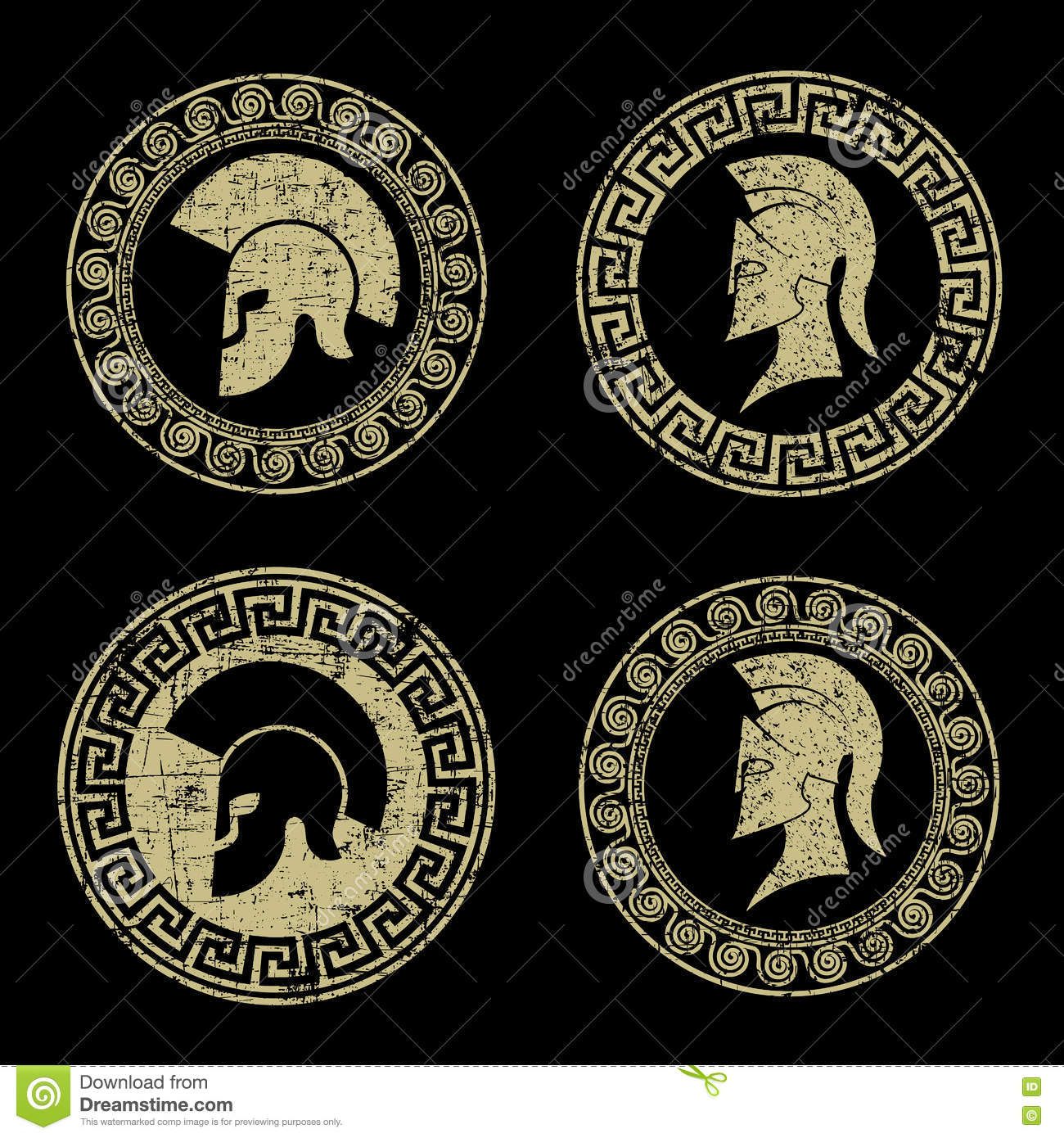 old shabby symbol of spartan warrior in grunge style stock