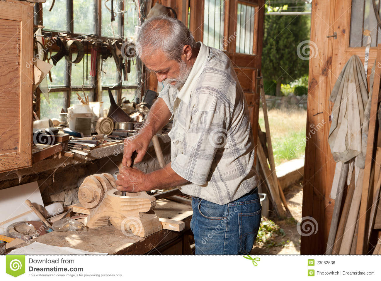 Old Shed And Skilled Carpenter Stock Photo Image 23062536