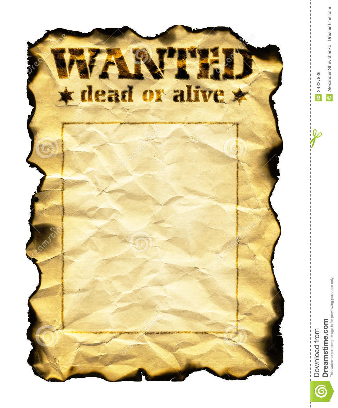 Old Sheet Of Paper With Words Wanted Dead Or Alive Royalty