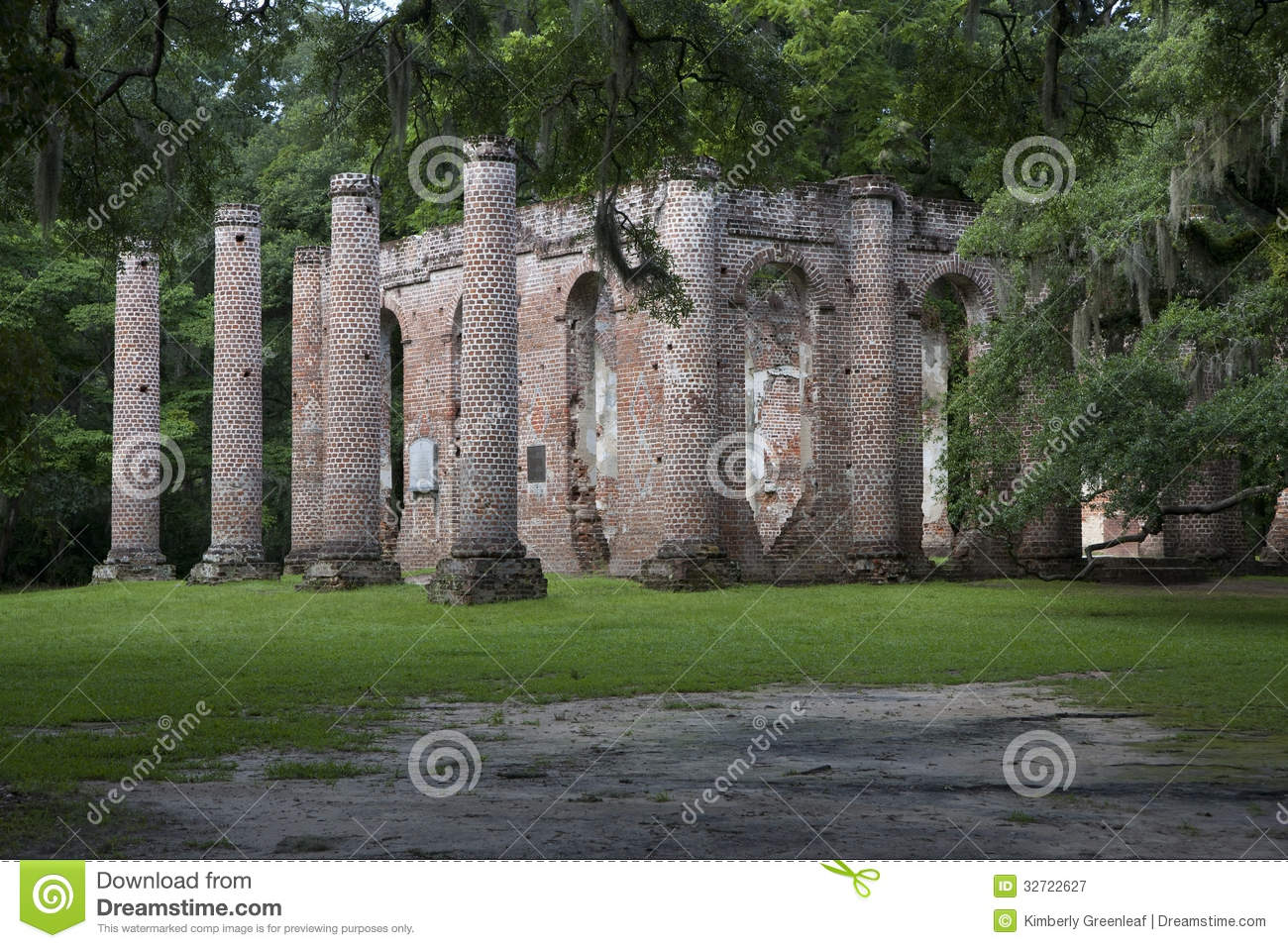 Old Sheldon Church Ruins South Carolina Royalty Free