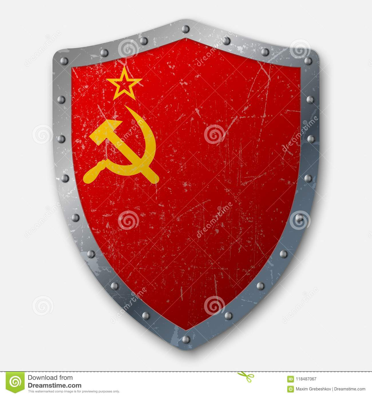 Old Shield with Flag