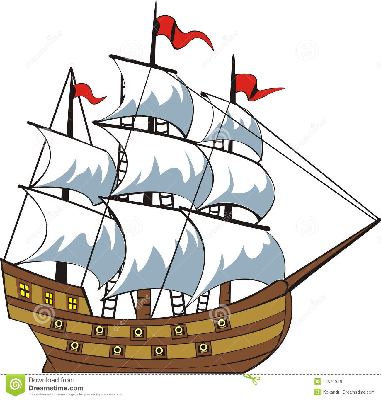 Old ship stock vector. Illustration of sailor, ocean ...