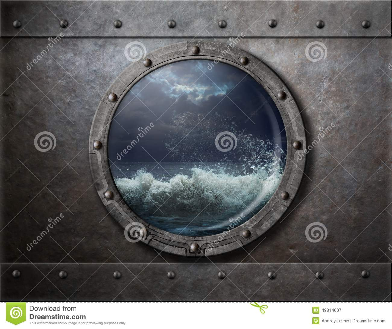 Old Ship Metal Porthole Or Window With Sea Storm Stock