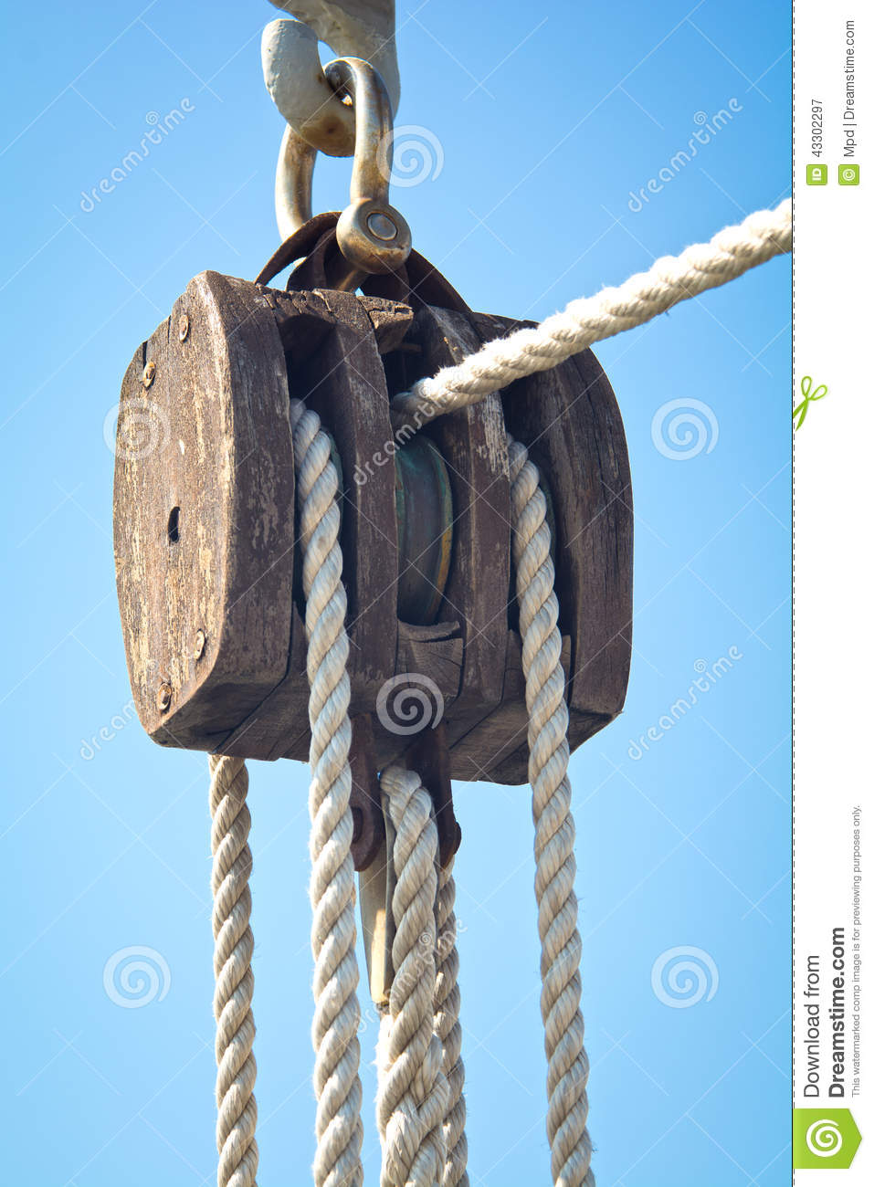 Old ship pulley stock photo image 43302297 for Uses for old pulleys