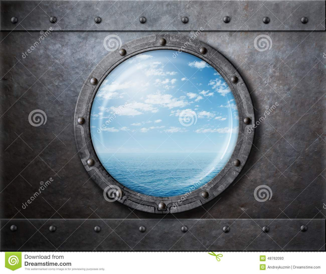 old ship rusty porthole or window with sea and stock image image 48762093. Black Bedroom Furniture Sets. Home Design Ideas
