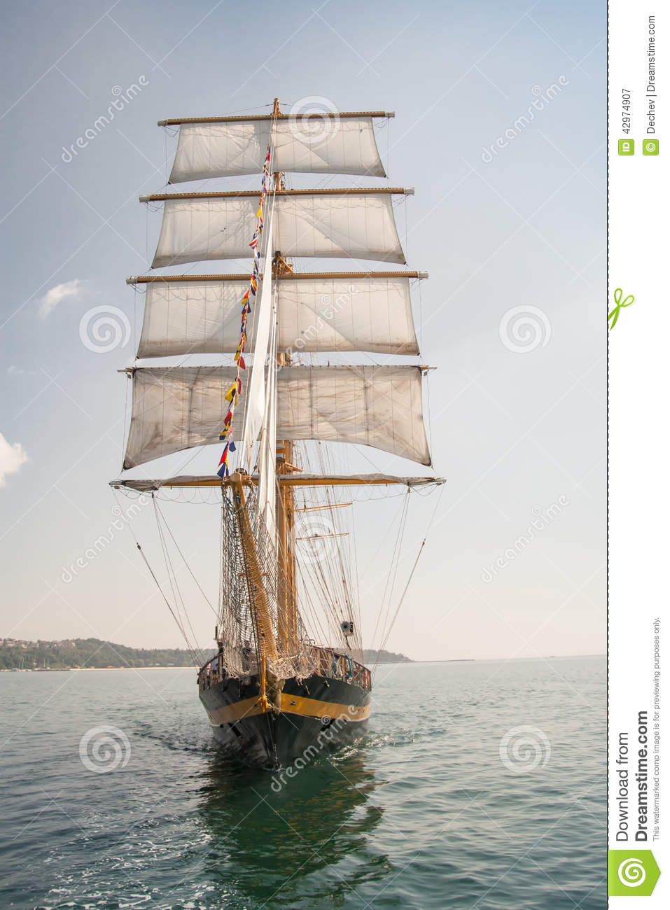 Old Ship, Sailing In The Sea Stock Image - Image of travel ...