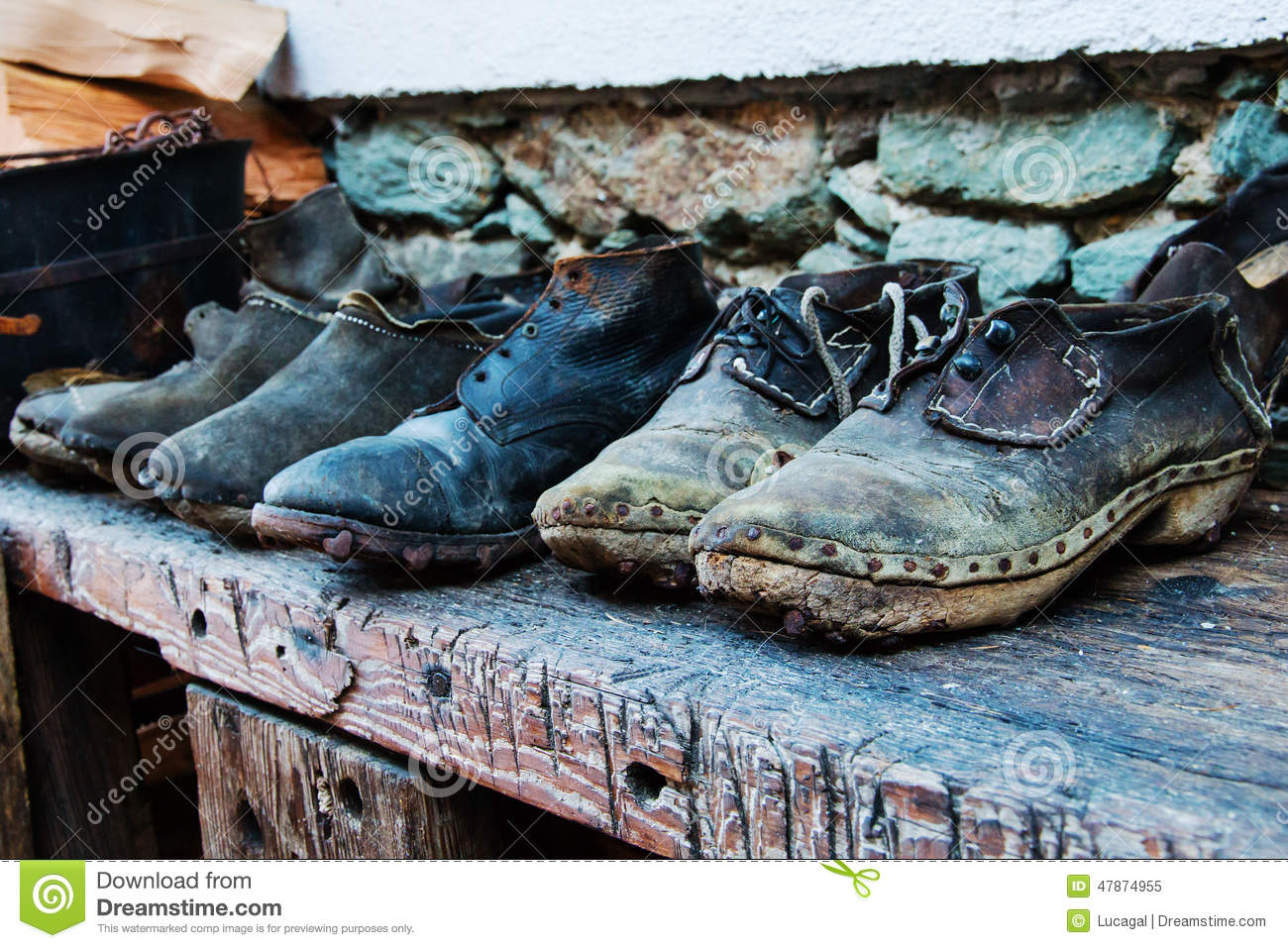 Old Shoes Made Of Leather Wood And Nails Stock Image Image Of
