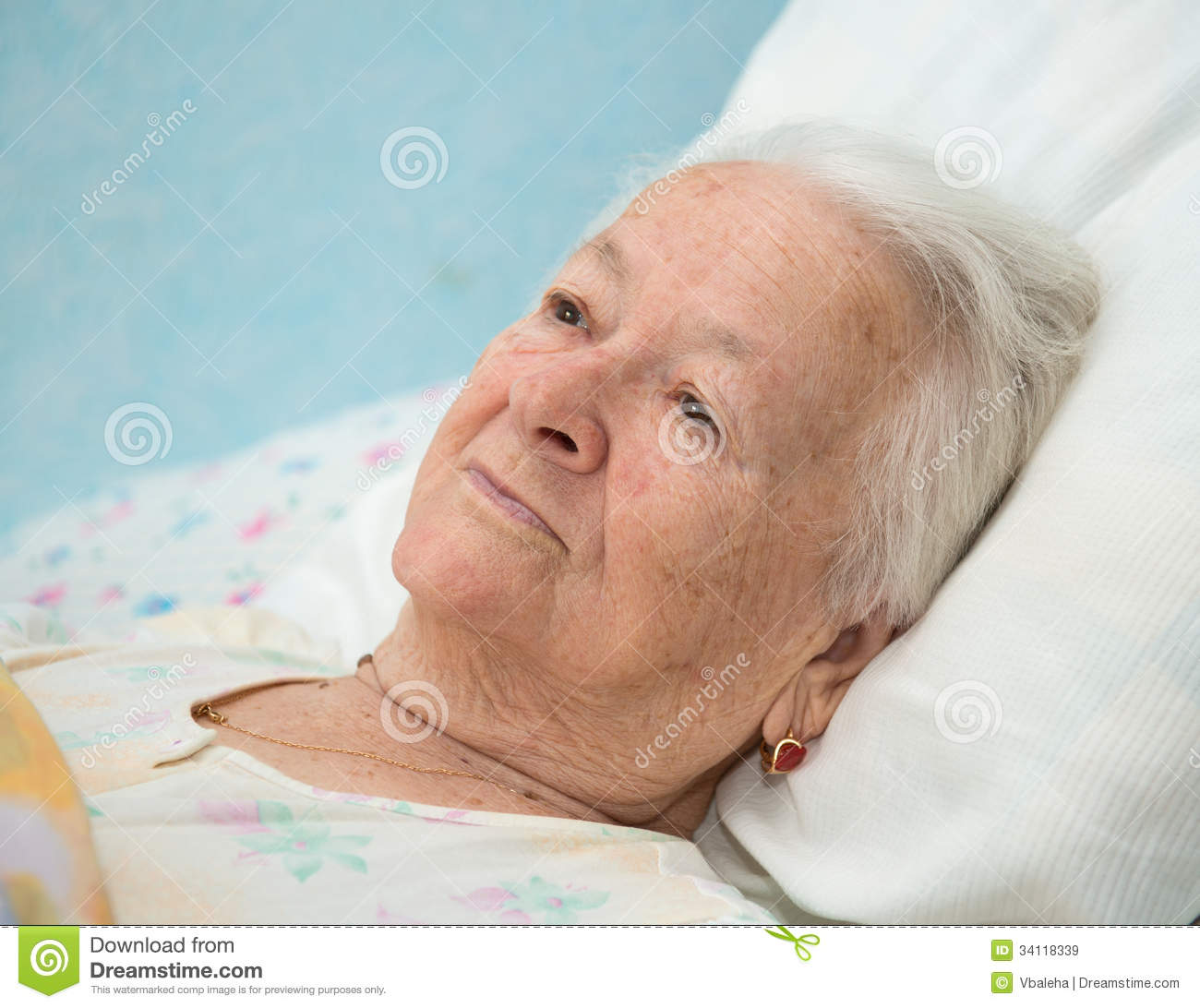 Old Sick Woman Lying At Bed Royalty Free Stock Images - Image ...