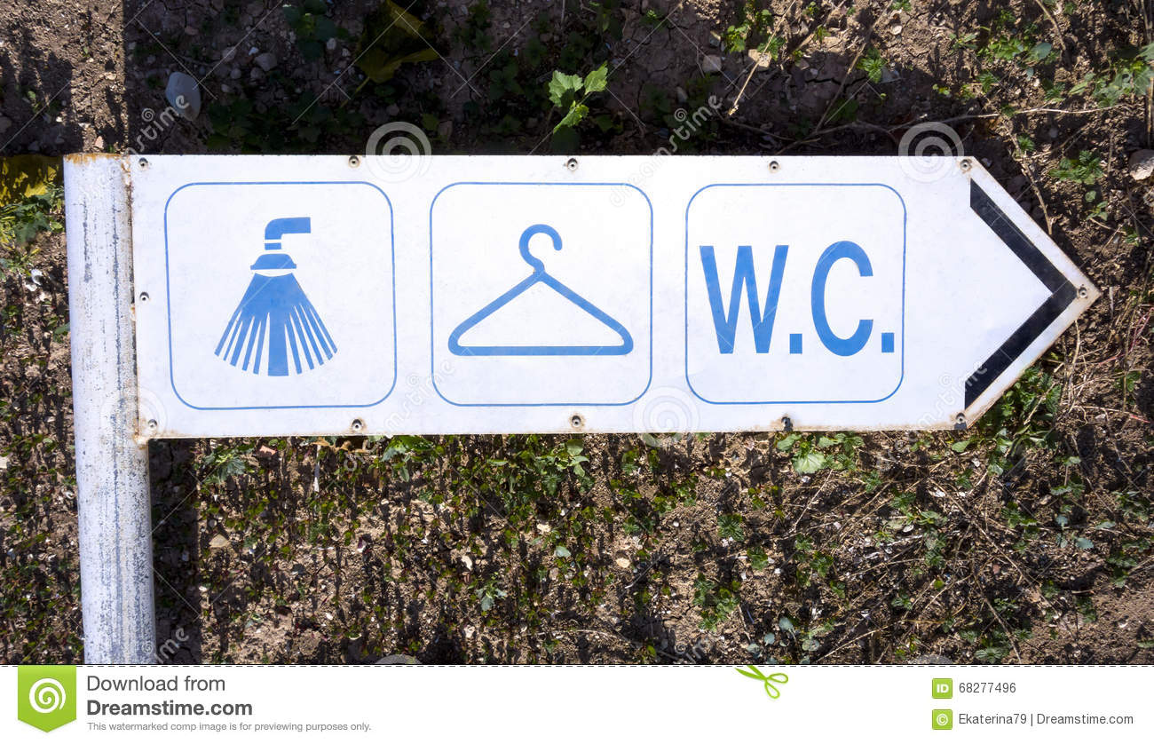 Old Sign Shower, Changing Room And WC Stock Photo - Image of ...