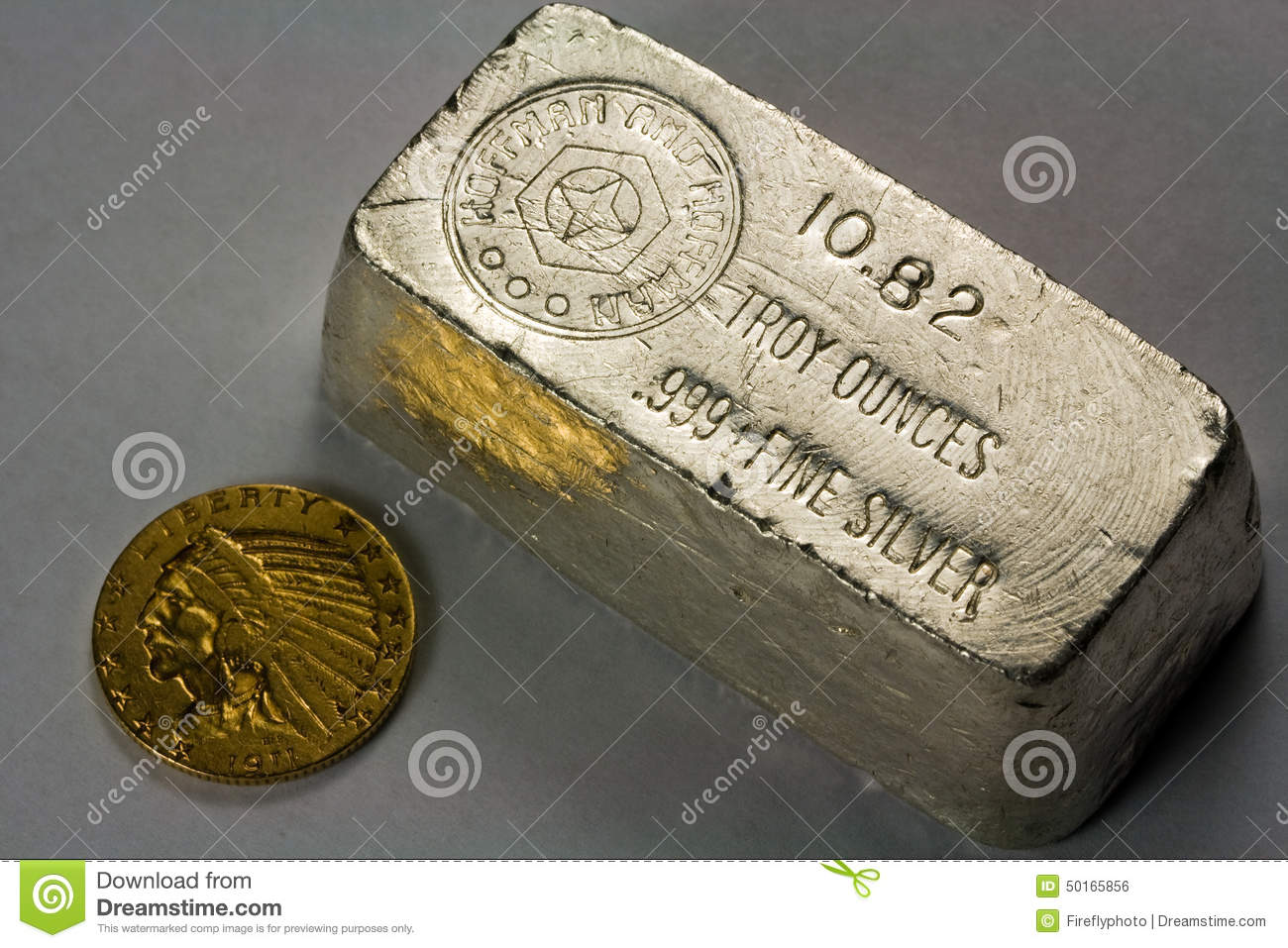 Old Silver Bullion Bar And Gold Coin Stock Photo Image