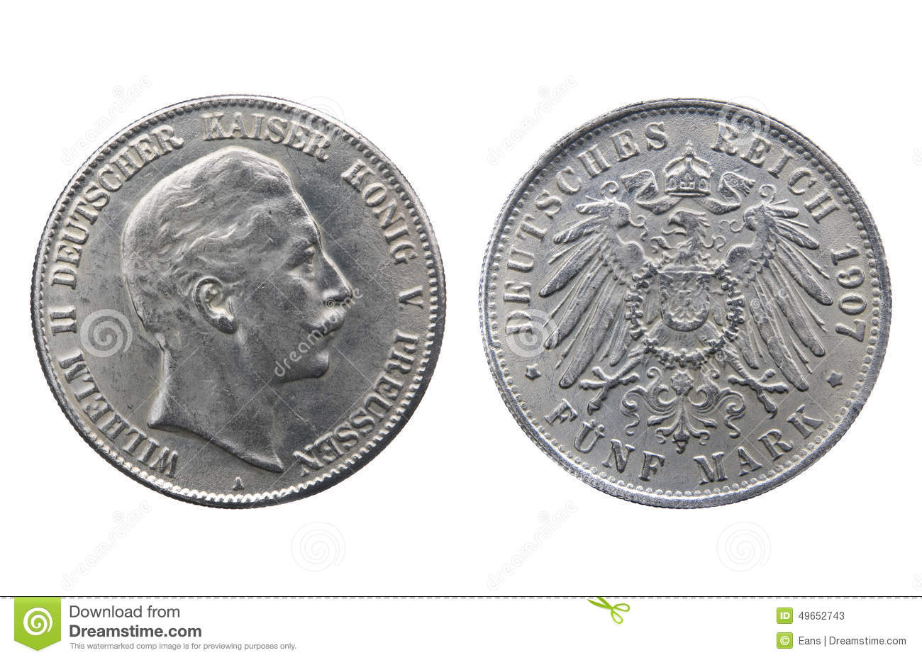 Old Silver Coin Of German Reich Stock Image Image Of Symbol