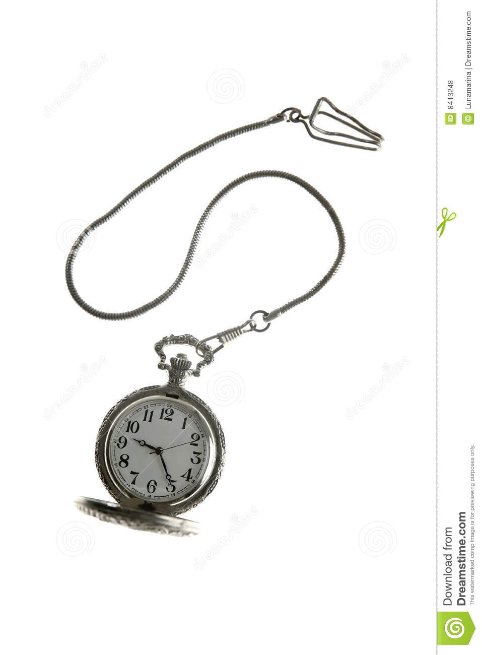 Old Silver Pocket Watch Clock With Chain Royalty Free