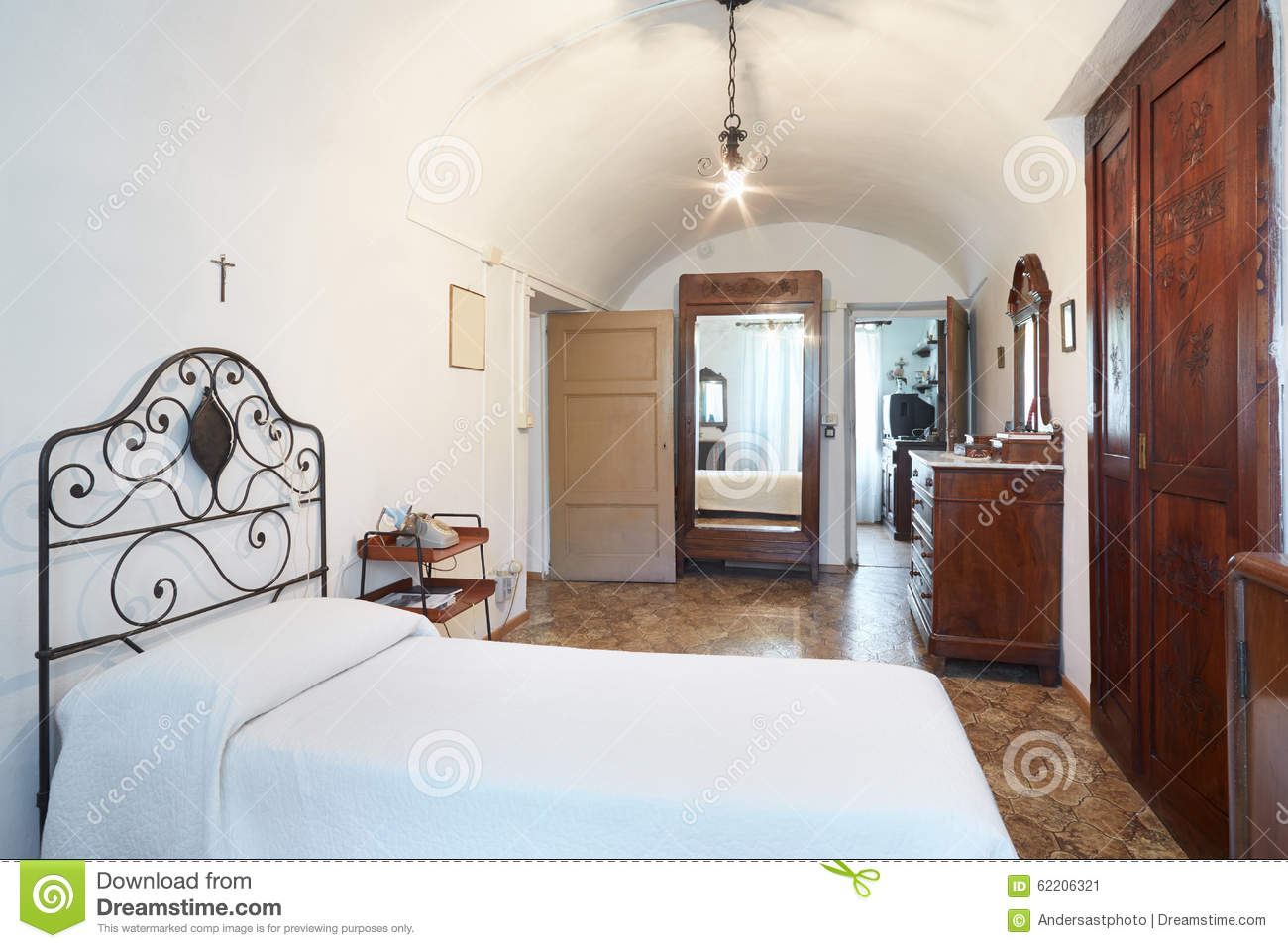 Old Single Bedroom In Ancient House Stock Photo Image 62206321