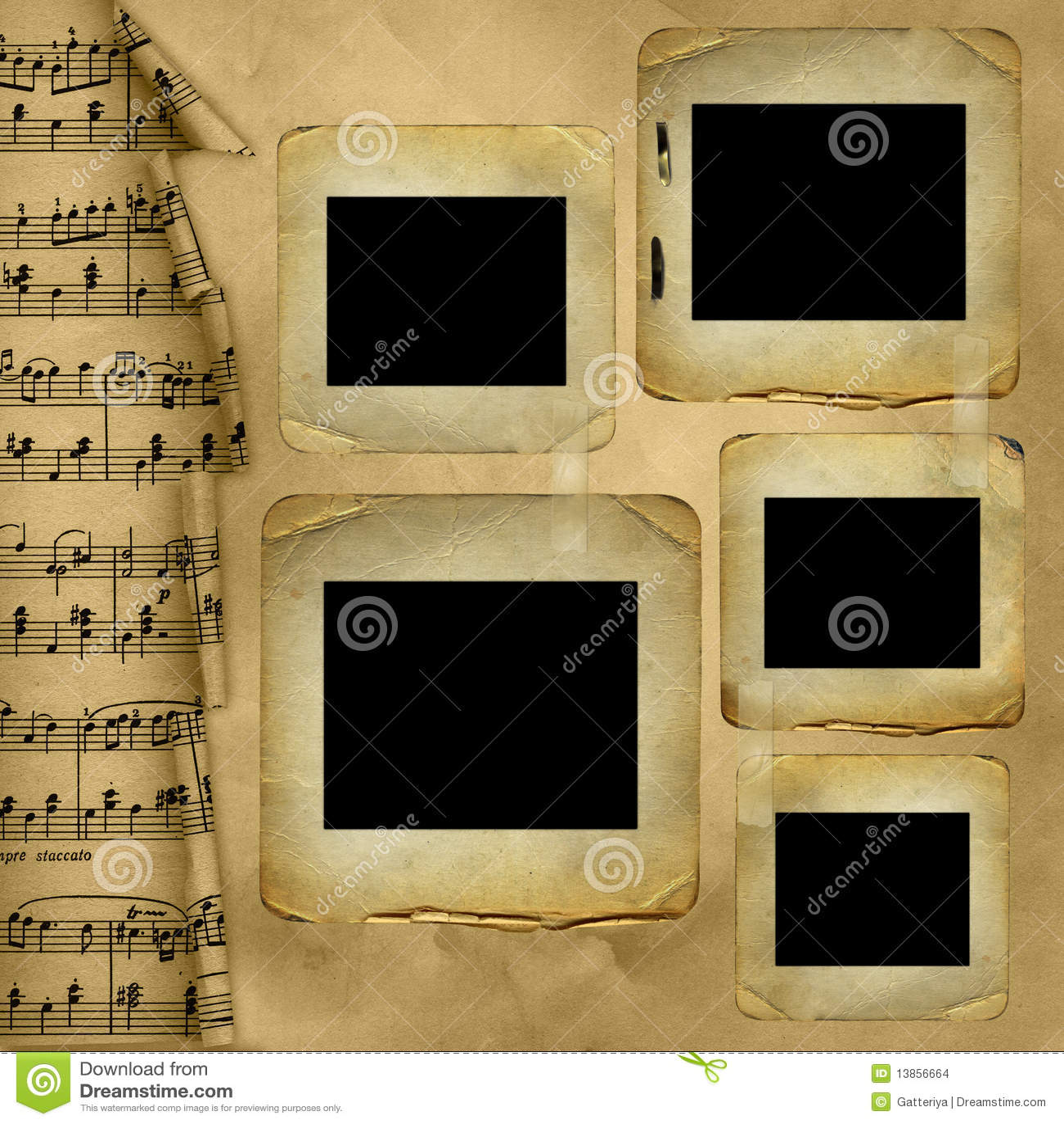 old slides for photo on musical background stock illustration
