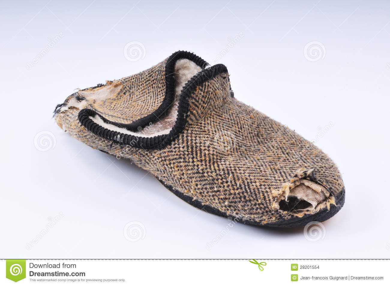 Very worn old slipper good to be thrown away.