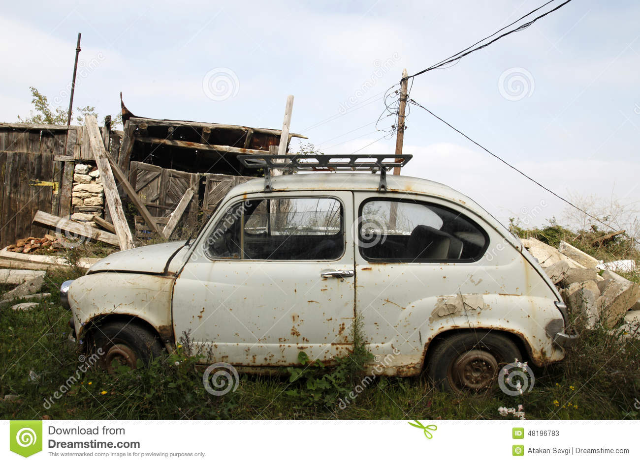 Old Small Car In Front Of An Old House Stock Image - Image of grunge ...