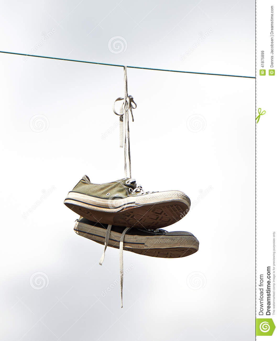 Old Sneakers Hanging From A Powerwire Stock Image , Image of