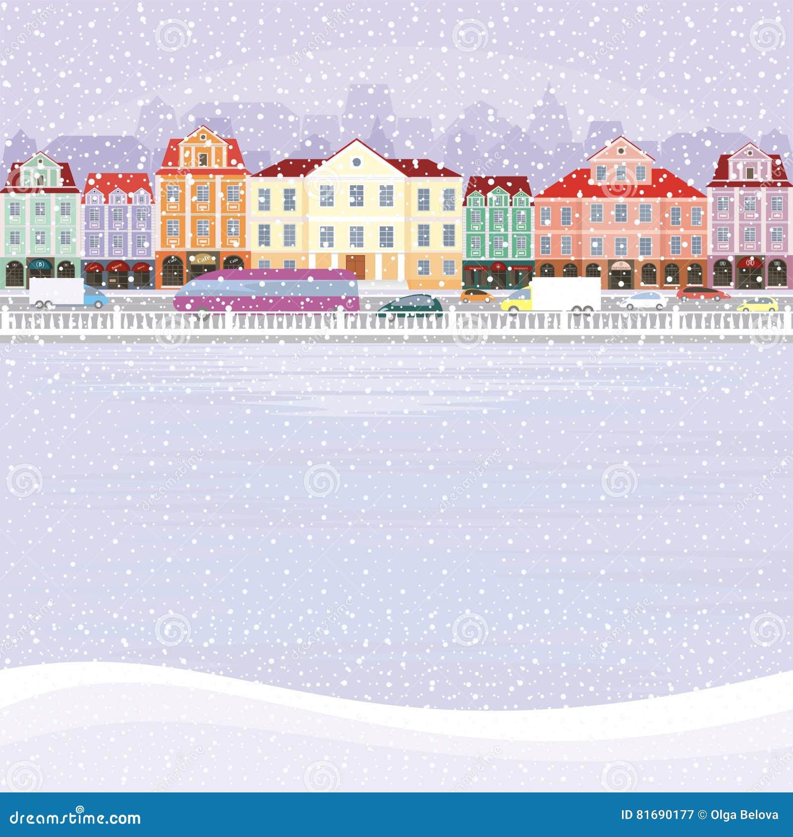 Outstanding Old Snowy Town Stock Vector Illustration Of Cityscape Interior Design Ideas Skatsoteloinfo