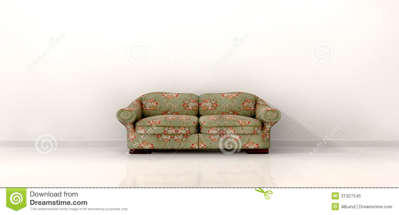 Old Sofa In Empty White Room Royalty Free Stock Photo