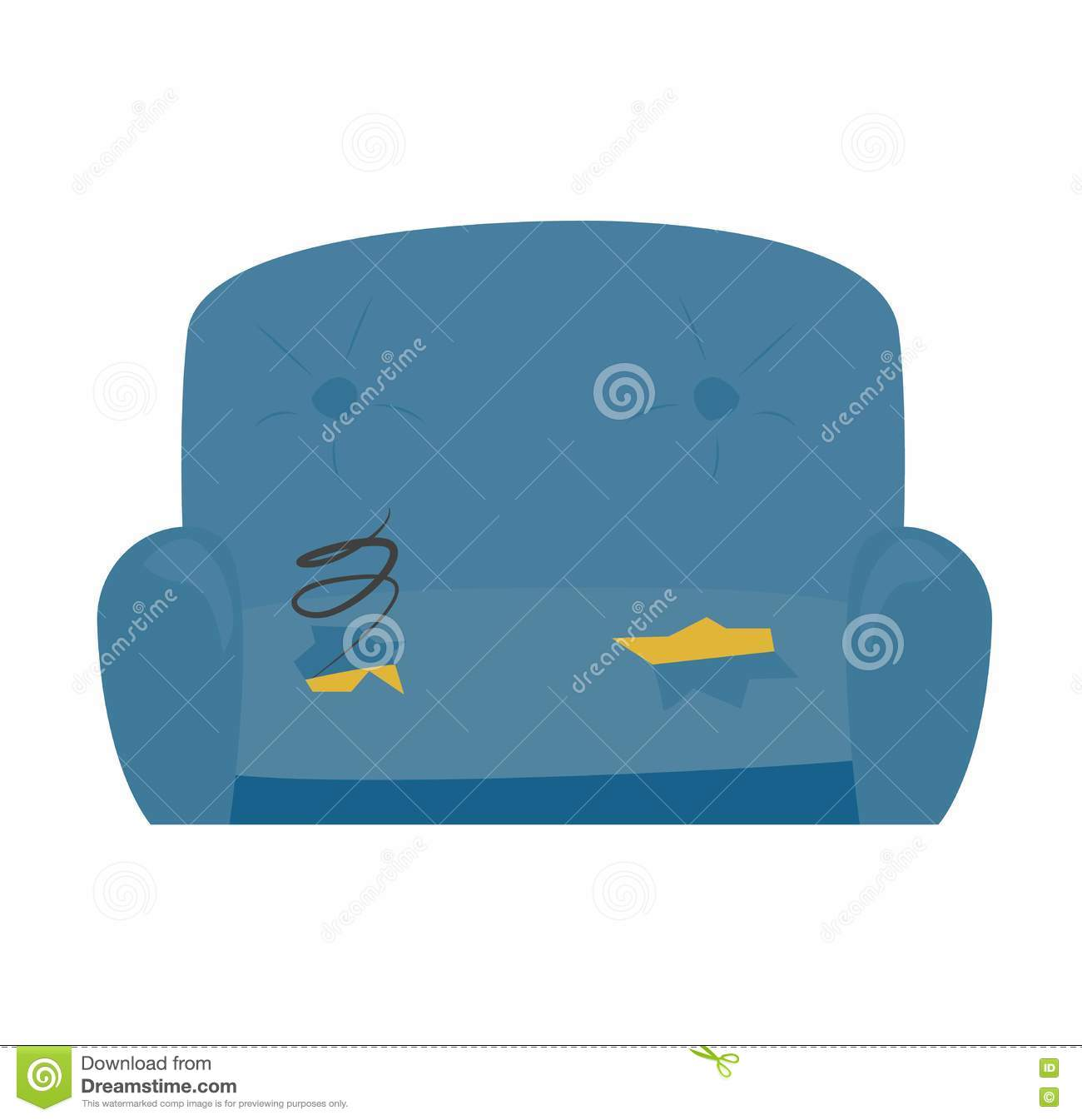 Old Sofa Vector Illustration Stock Vector Illustration Of Antique