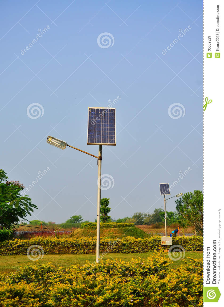Solar Cell Light Pole In The Garden. Royalty-Free Stock ...