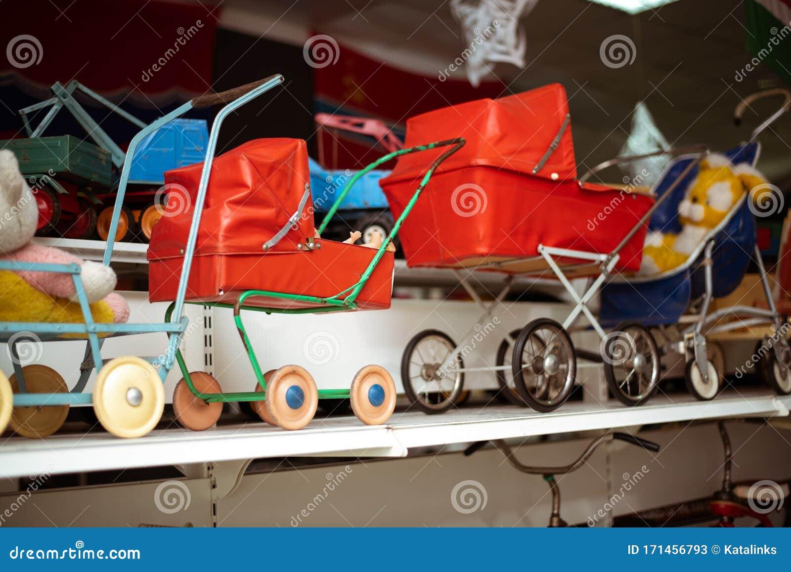 old soviet baby strollers dolls stand shelf store 171456793