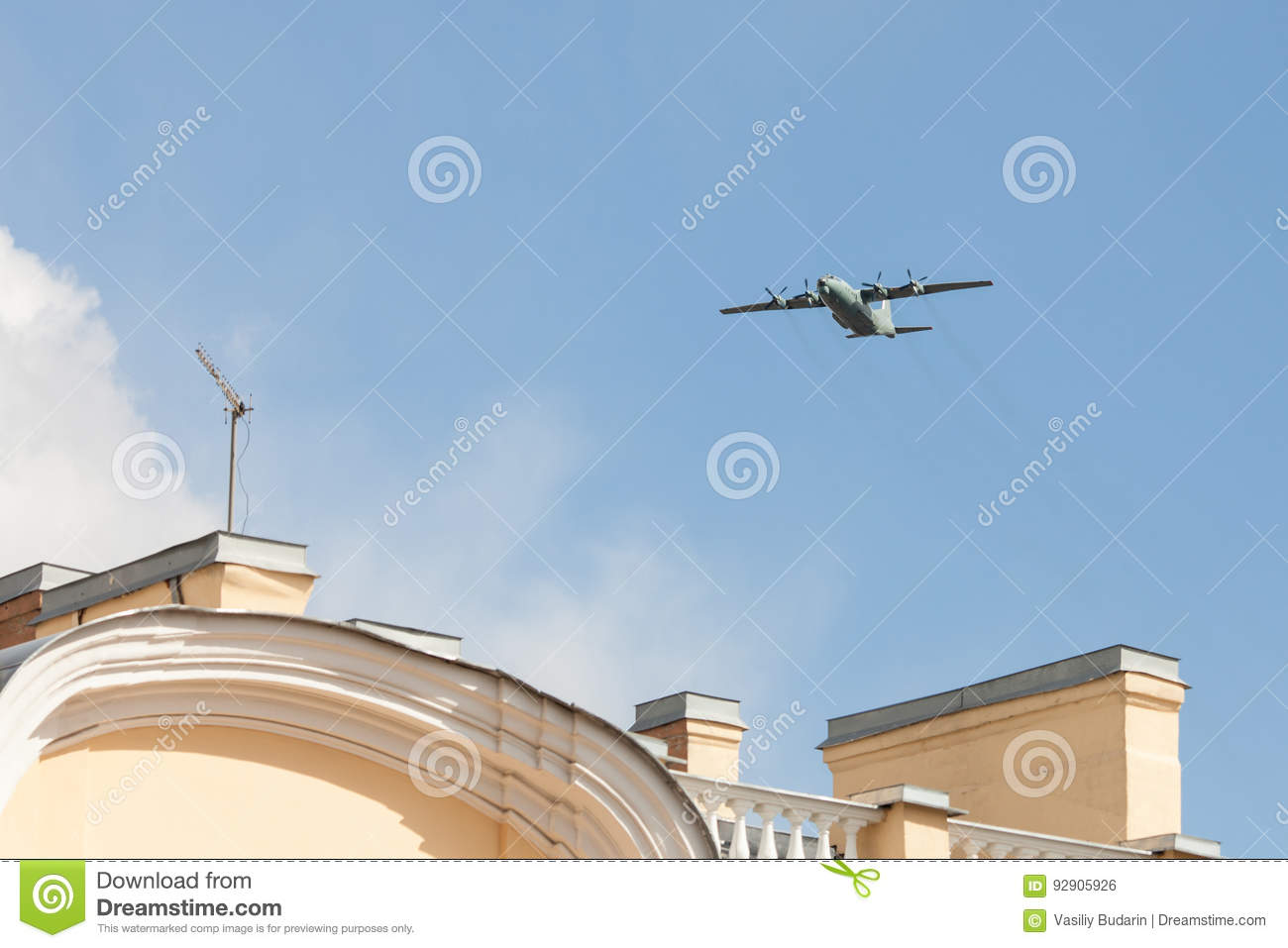 Old Soviet Military Turboprop Cargo Plane Flies Over The