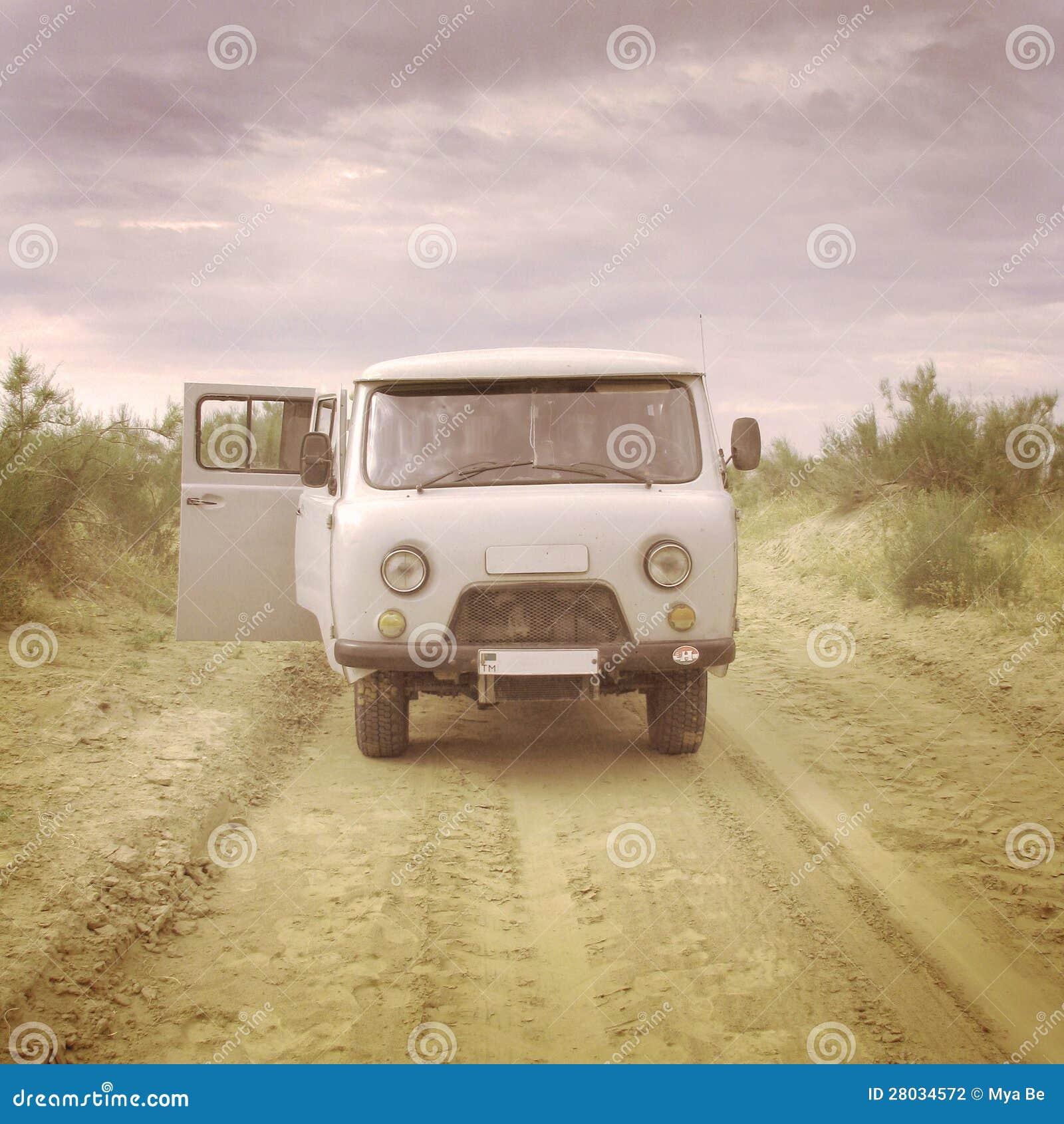 Old soviet style minibus in the desert