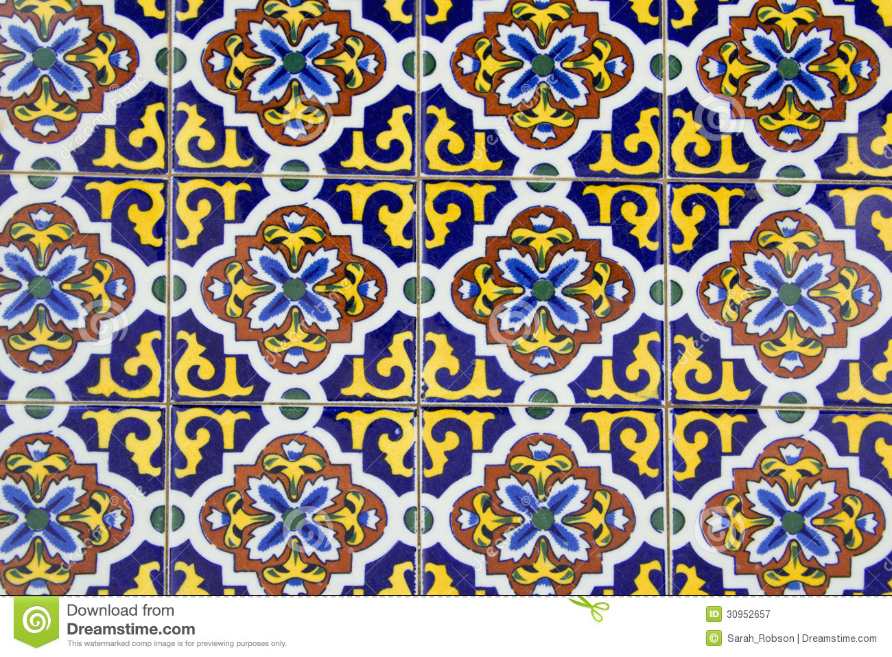 Old Spanish Ceramic Tiles Royalty Free Stock Photography